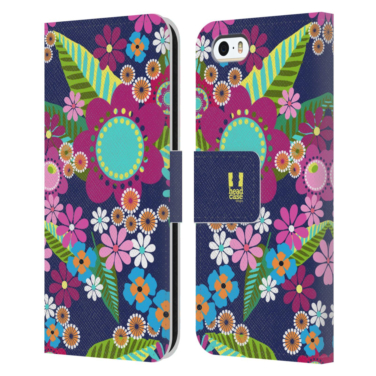 HEAD CASE Flipové pouzdro pro mobil Apple Iphone 5/5s BOTANIKA barevné květy modrá