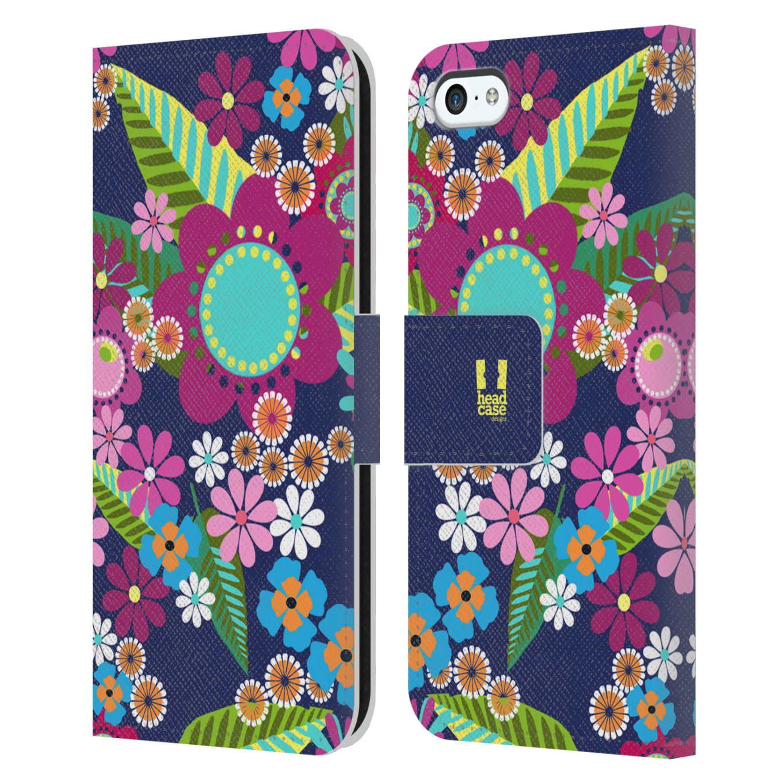 HEAD CASE Flipové pouzdro pro mobil Apple Iphone 5C BOTANIKA barevné květy modrá