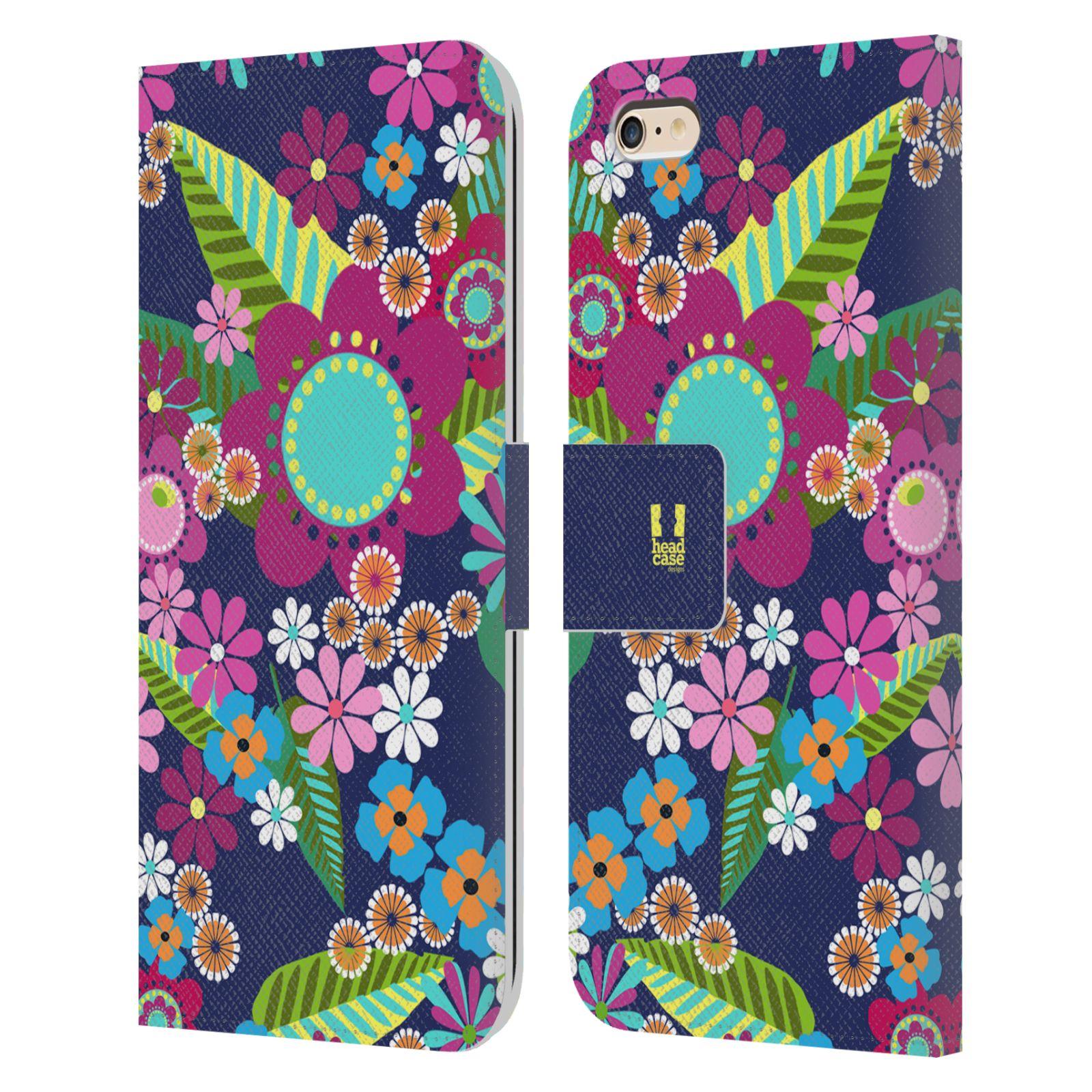 HEAD CASE Flipové pouzdro pro mobil Apple Iphone 6 PLUS / 6S PLUS BOTANIKA barevné květy modrá