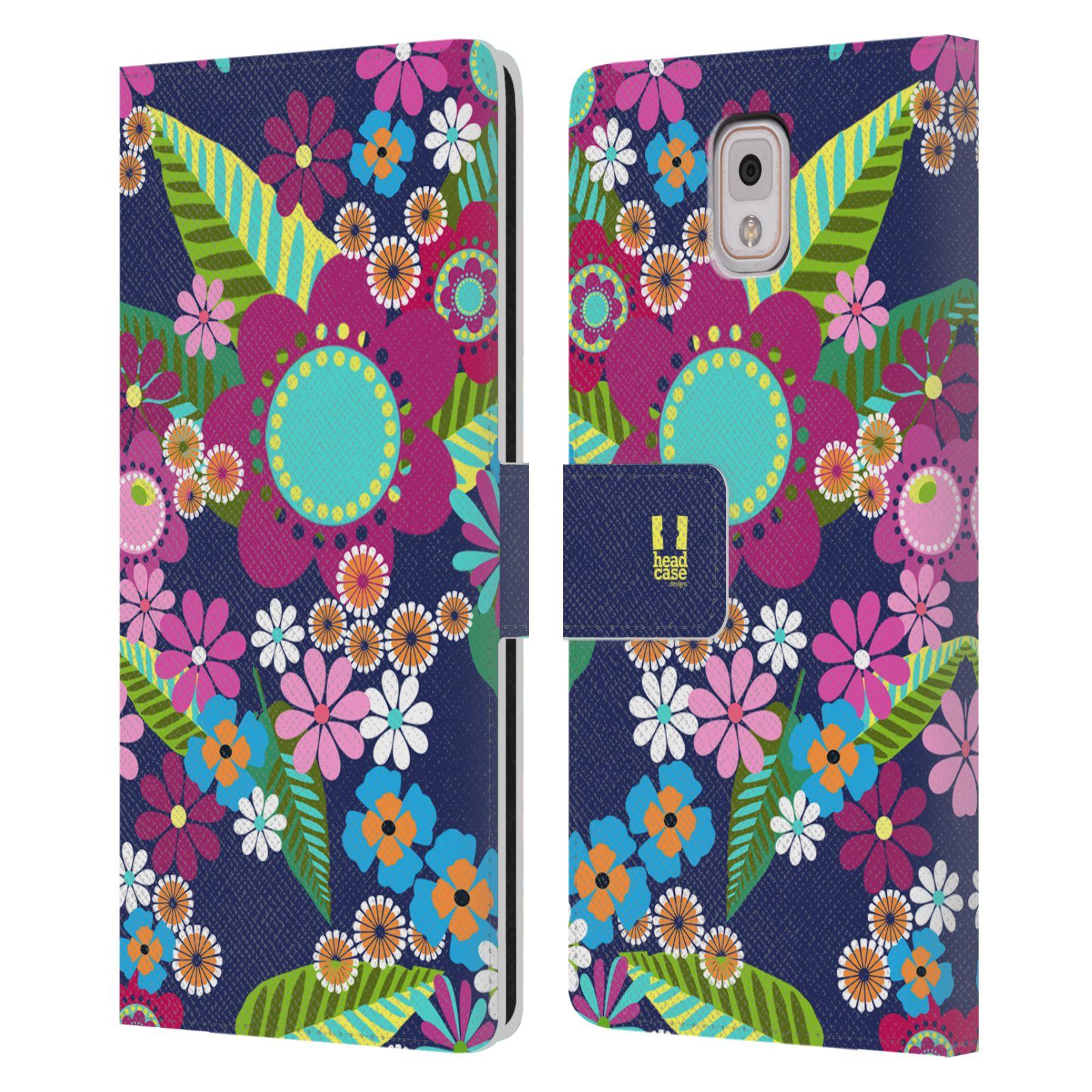 HEAD CASE Flipové pouzdro pro mobil Samsung Galaxy Note 3 N9005 BOTANIKA barevné květy modrá