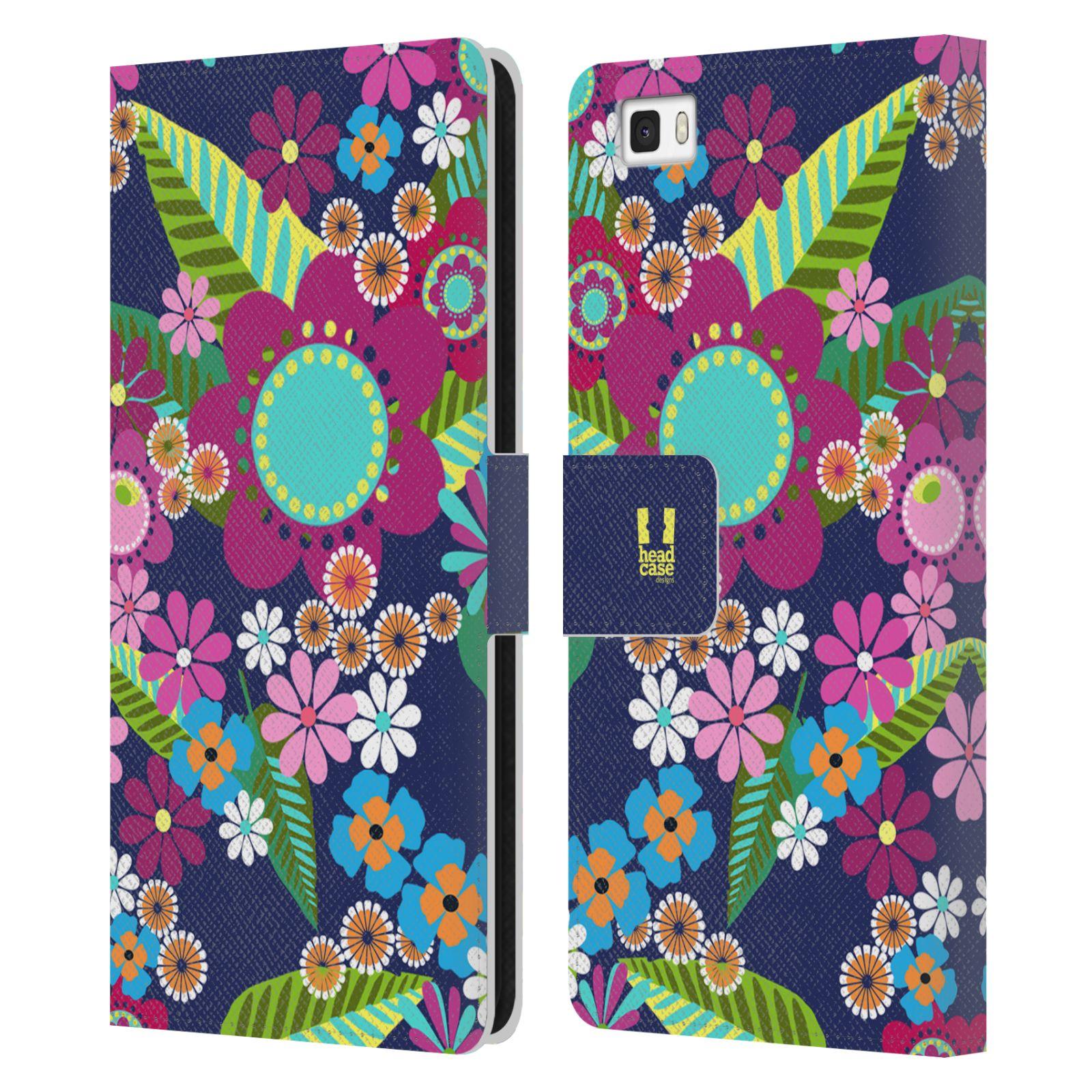 HEAD CASE Flipové pouzdro pro mobil Huawei P8 LITE BOTANIKA barevné květy modrá