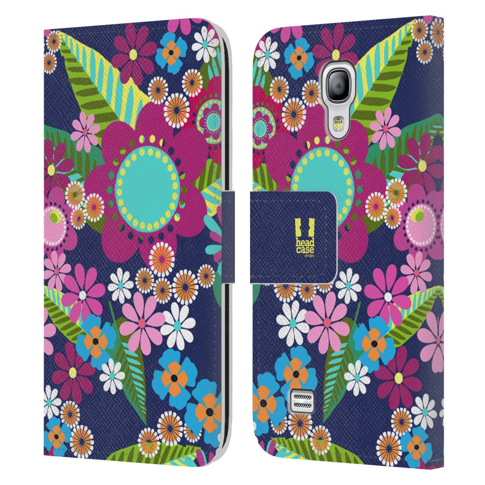 HEAD CASE Flipové pouzdro pro mobil Samsung Galaxy S4 MINI / S4 MINI DUOS BOTANIKA barevné květy modrá
