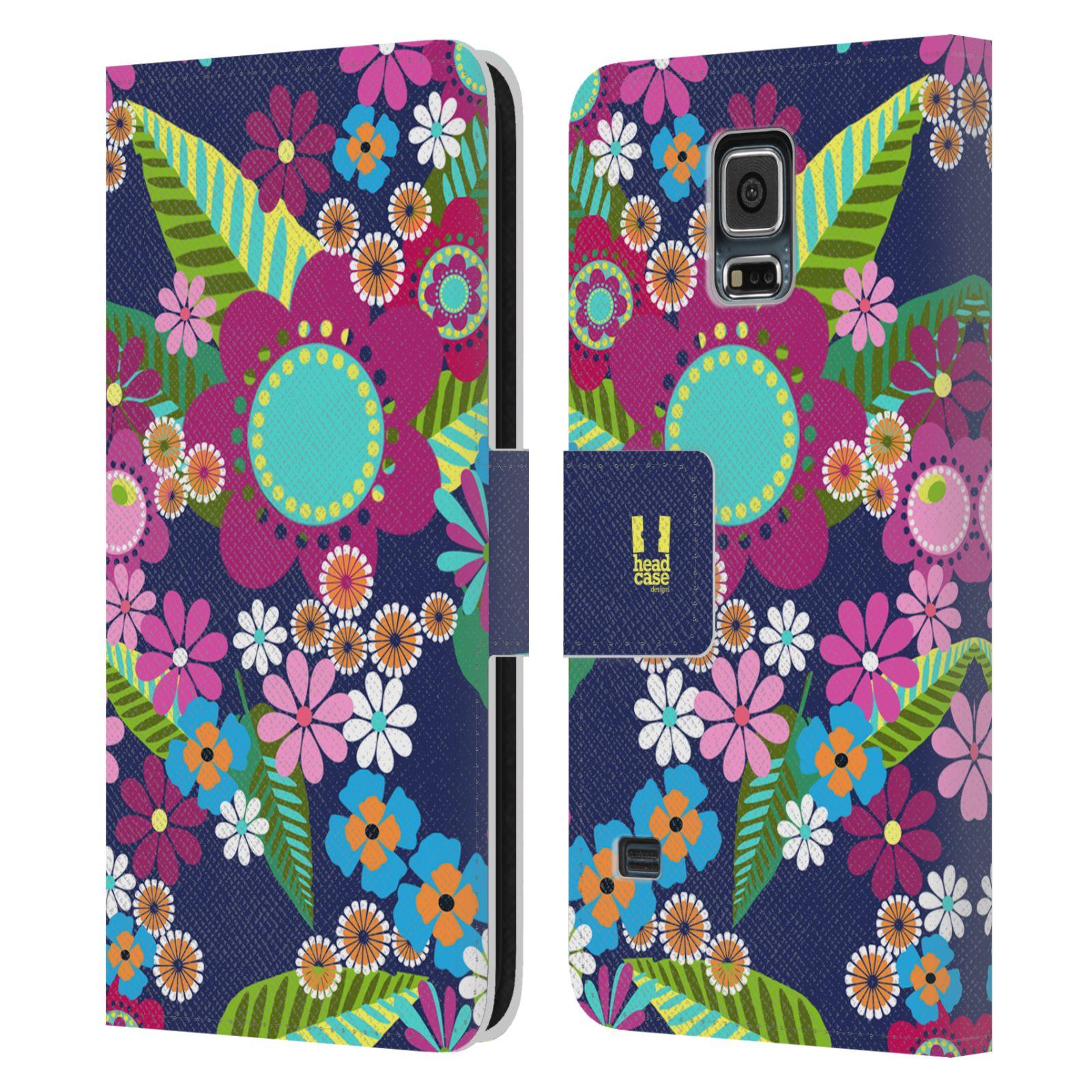 HEAD CASE Flipové pouzdro pro mobil Samsung Galaxy S5 / S5 NEO BOTANIKA barevné květy modrá