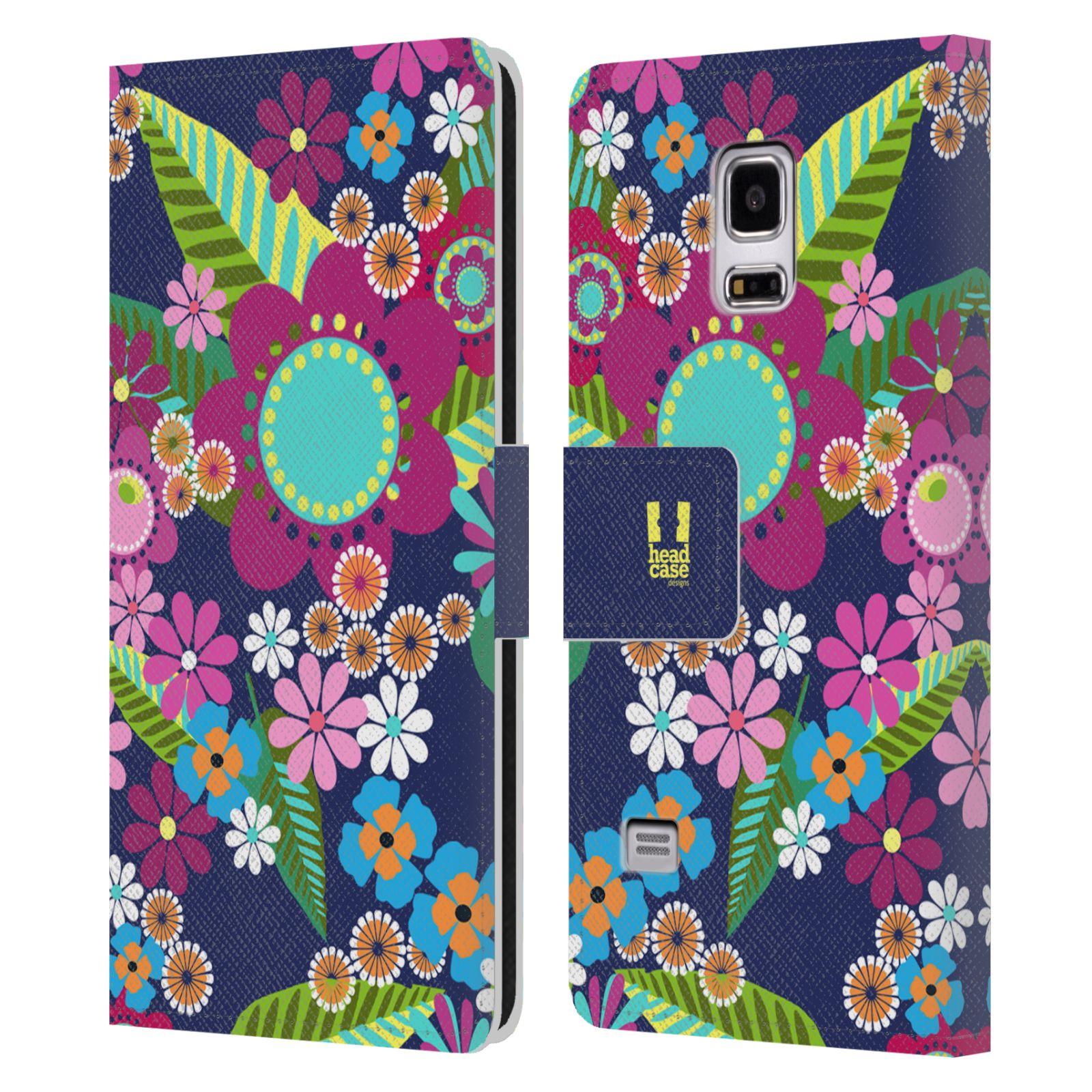 HEAD CASE Flipové pouzdro pro mobil Samsung Galaxy S5 MINI / S5 MINI DUOS BOTANIKA barevné květy modrá