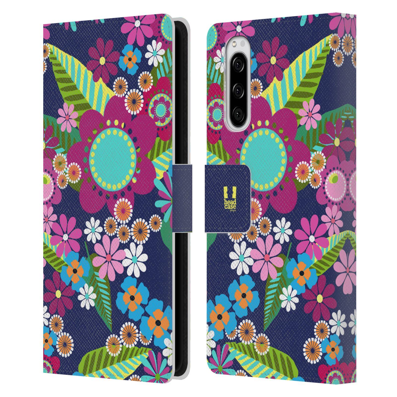 Pouzdro na mobil Sony Xperia 5 BOTANIKA barevné květy modrá