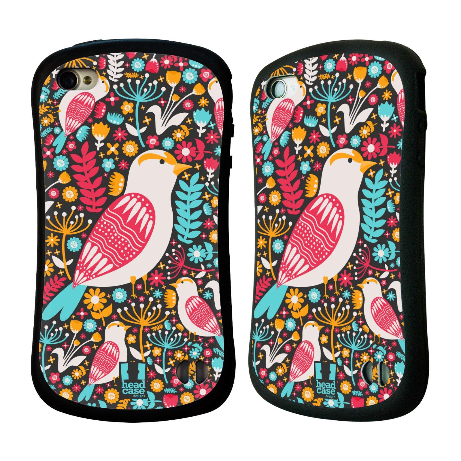 HEAD CASE silikon/plast odolný obal na mobil Apple Iphone 4/4S vzor kreslení ptáci dlask obecný
