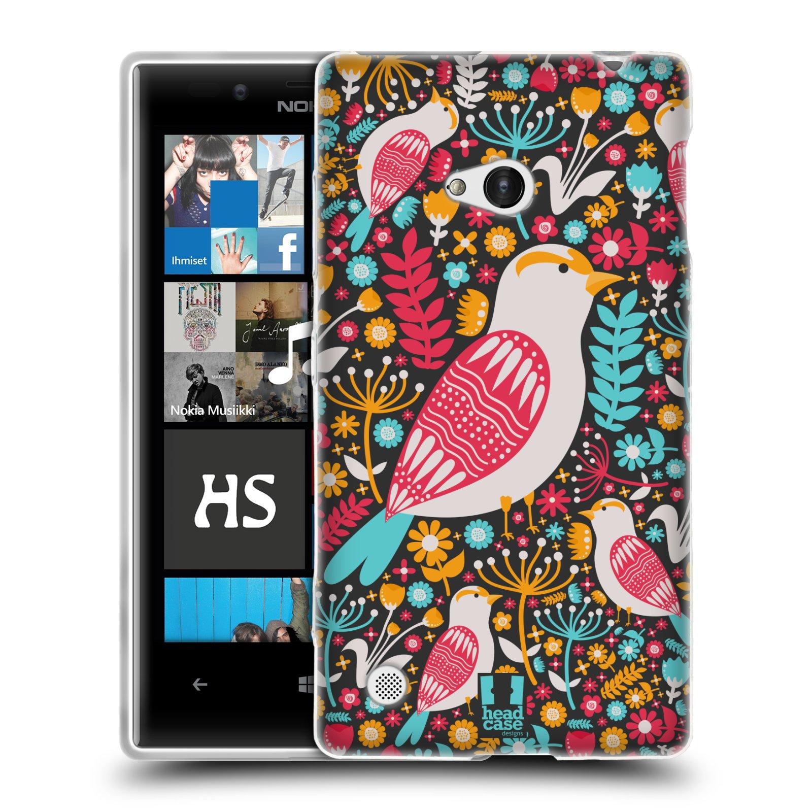 HEAD CASE silikonový obal na mobil NOKIA Lumia 720 vzor kreslení ptáci dlask obecný