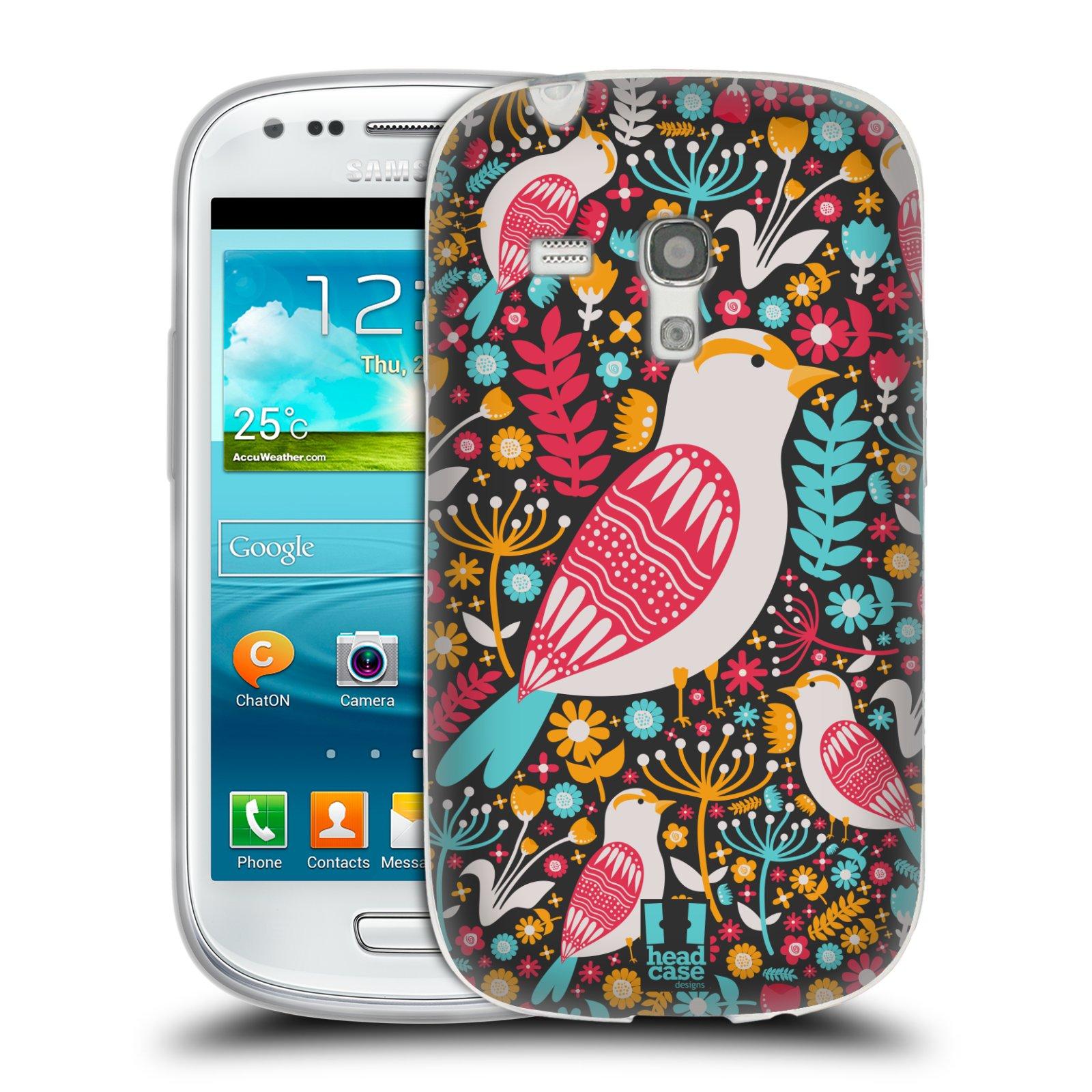 HEAD CASE silikonový obal na mobil Samsung Galaxy S3 MINI i8190 vzor kreslení ptáci dlask obecný