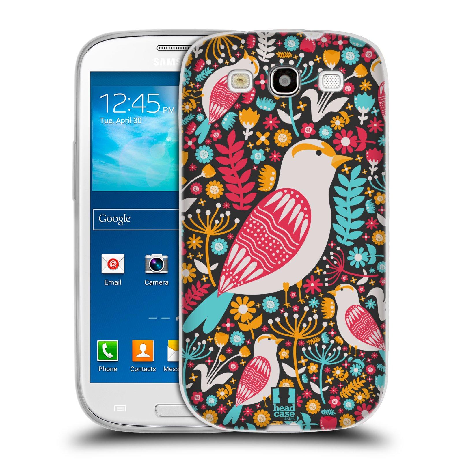 HEAD CASE silikonový obal na mobil Samsung Galaxy S3 i9300 vzor kreslení ptáci dlask obecný