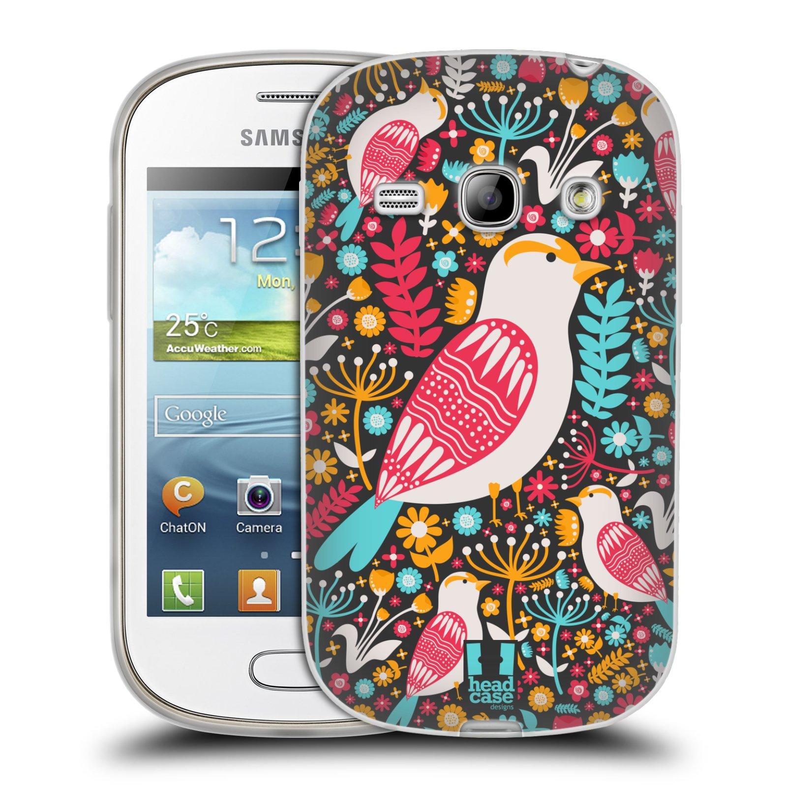 HEAD CASE silikonový obal na mobil Samsung Galaxy FAME vzor kreslení ptáci dlask obecný