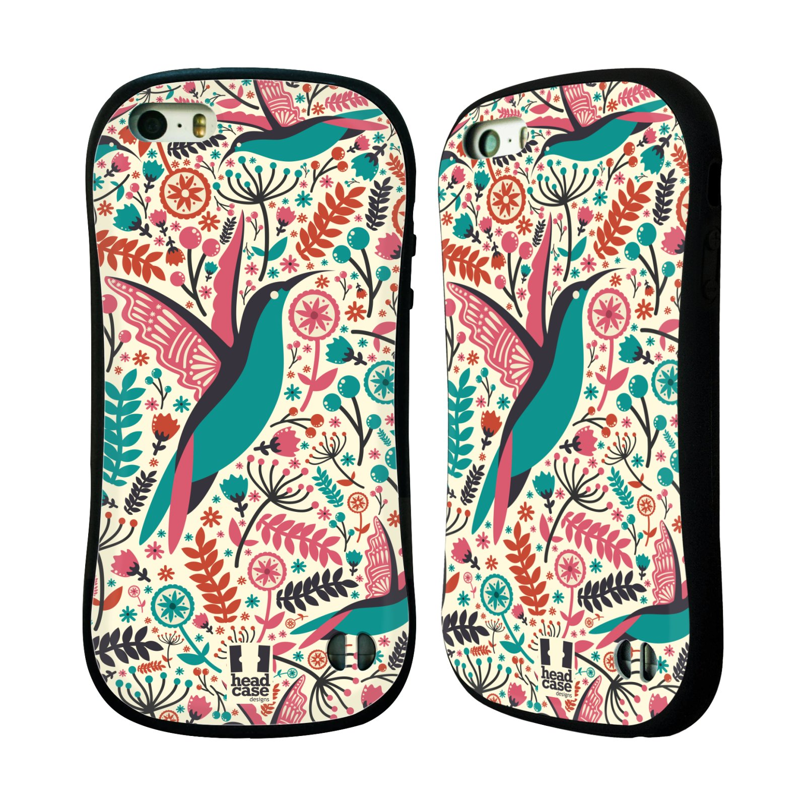 HEAD CASE silikon/plast odolný obal na mobil Apple Iphone 5/5S vzor kreslení ptáci kolibřík