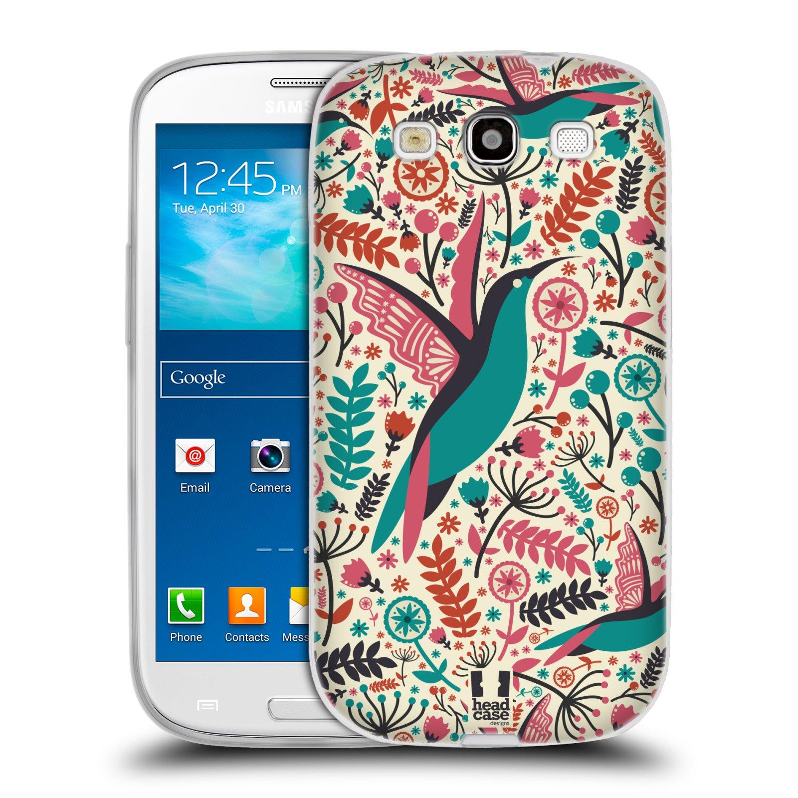 HEAD CASE silikonový obal na mobil Samsung Galaxy S3 i9300 vzor kreslení ptáci kolibřík