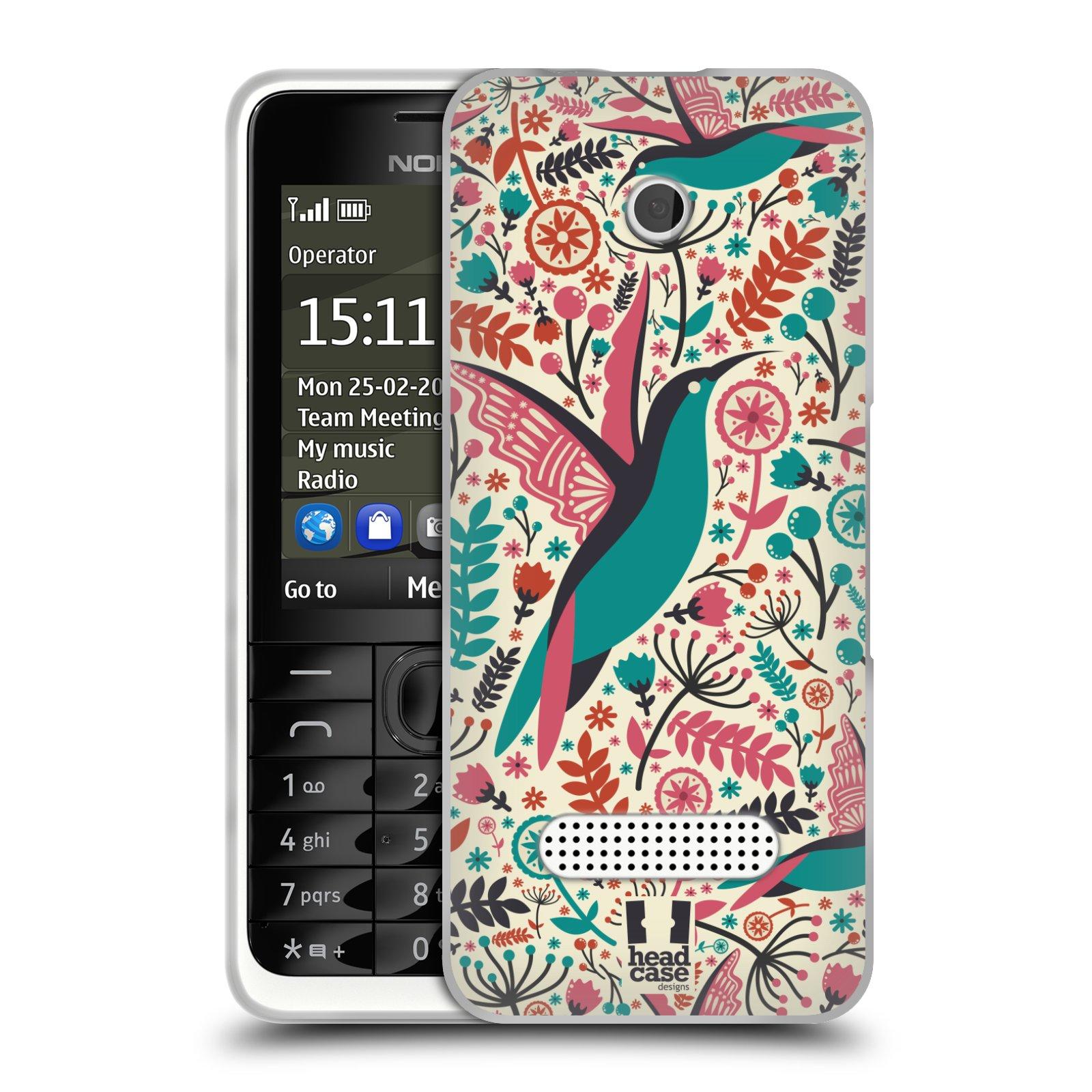 HEAD CASE silikonový obal na mobil NOKIA 301 vzor kreslení ptáci kolibřík