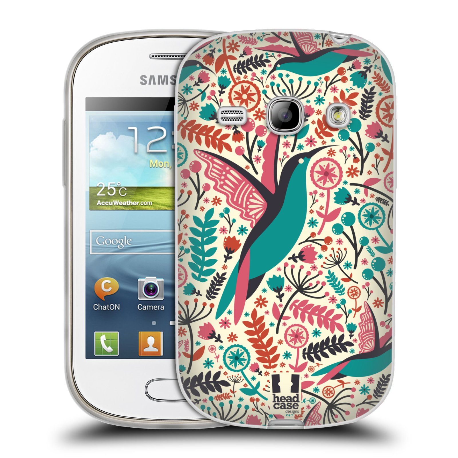 HEAD CASE silikonový obal na mobil Samsung Galaxy FAME vzor kreslení ptáci kolibřík