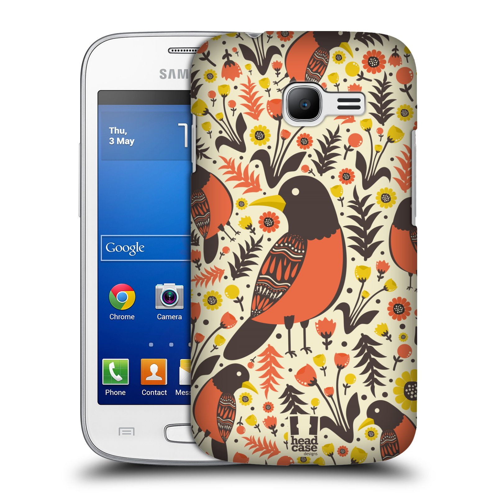 HEAD CASE plastový obal na mobil SAMSUNG GALAXY Star Pro S7260/S7262 DUOS vzor kreslení ptáci červenka