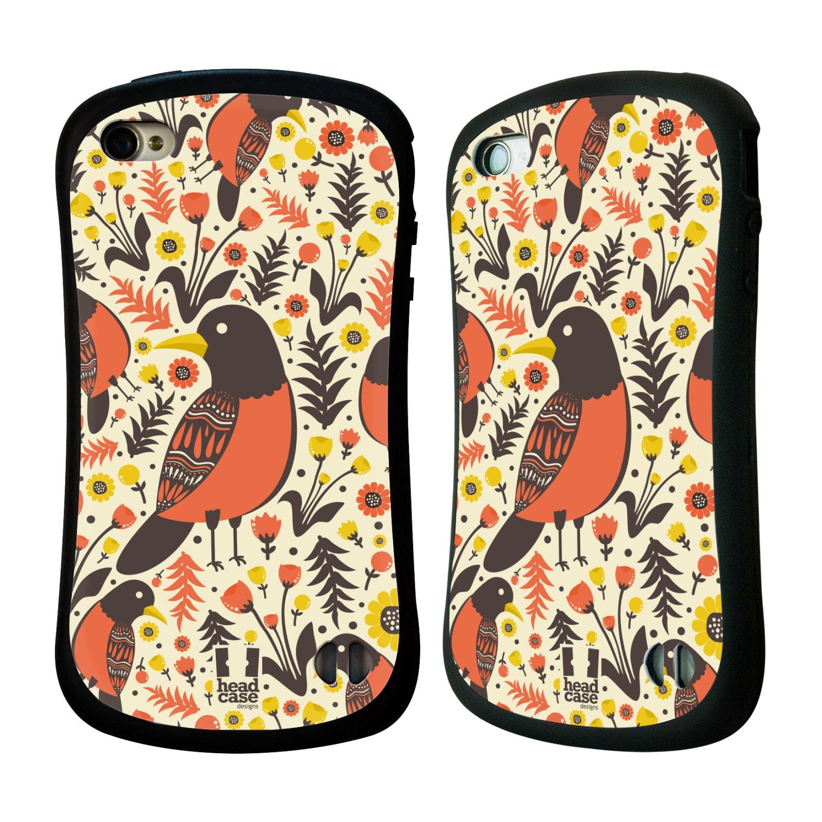 HEAD CASE silikon/plast odolný obal na mobil Apple Iphone 4/4S vzor kreslení ptáci červenka