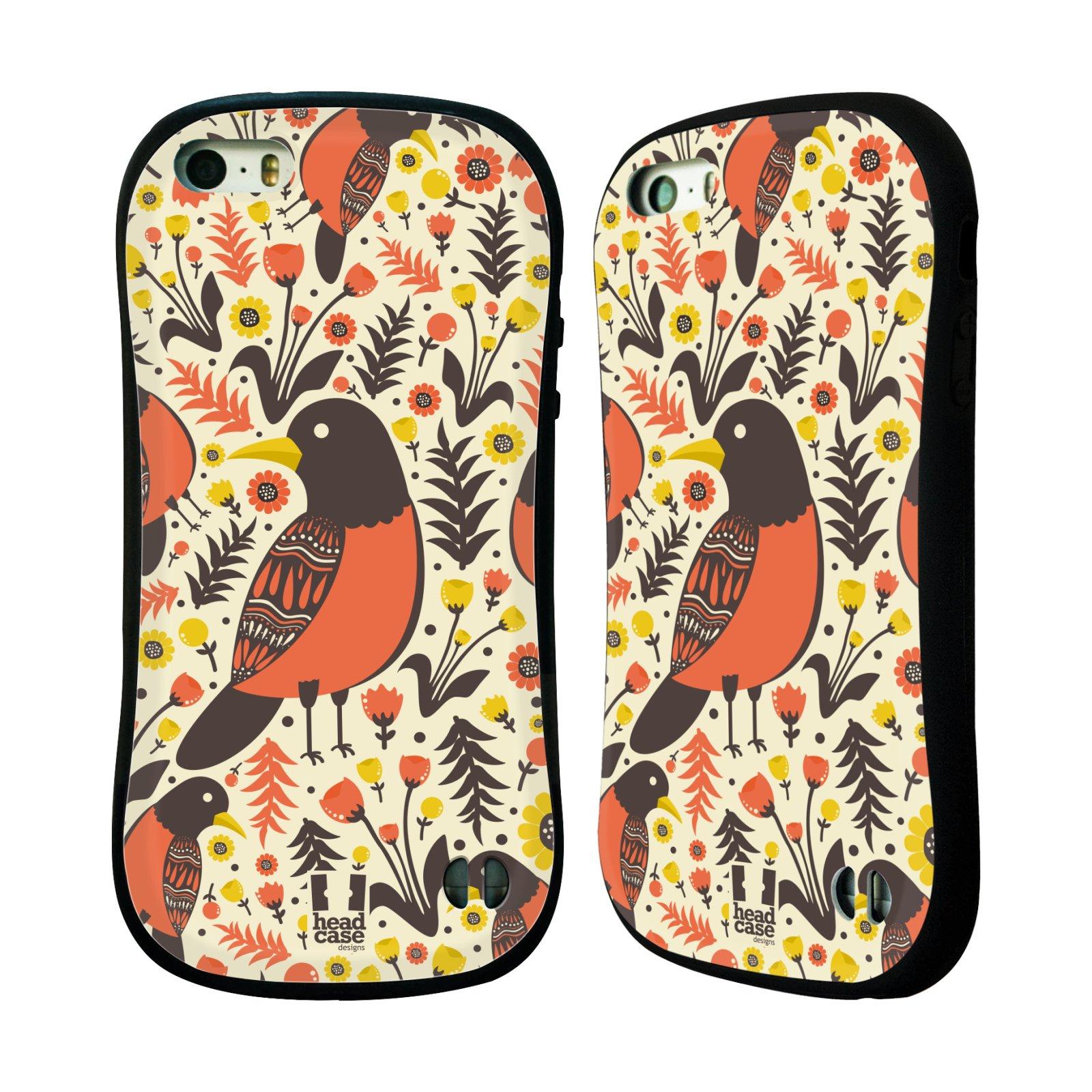 HEAD CASE silikon/plast odolný obal na mobil Apple Iphone 5/5S vzor kreslení ptáci červenka