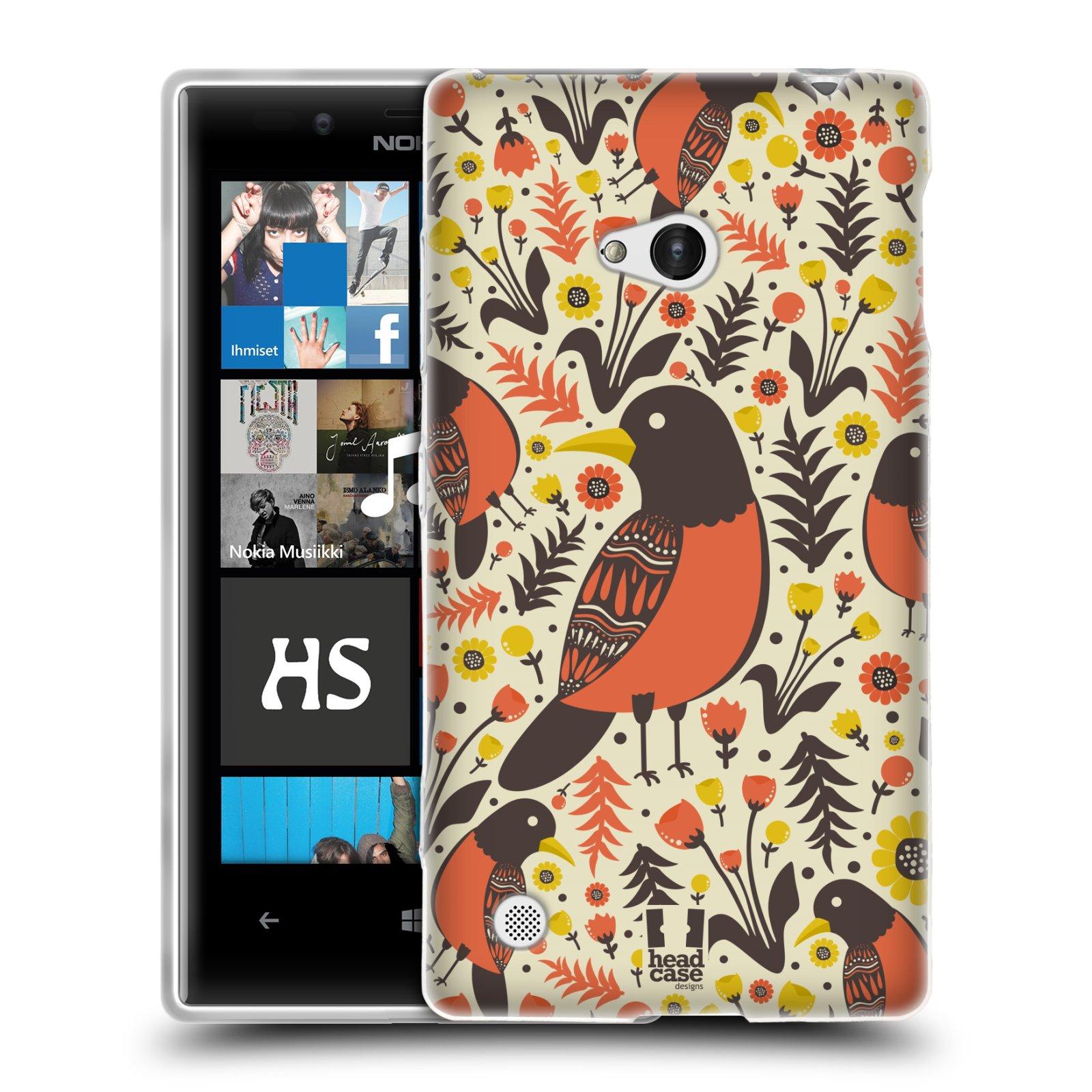 HEAD CASE silikonový obal na mobil NOKIA Lumia 720 vzor kreslení ptáci červenka