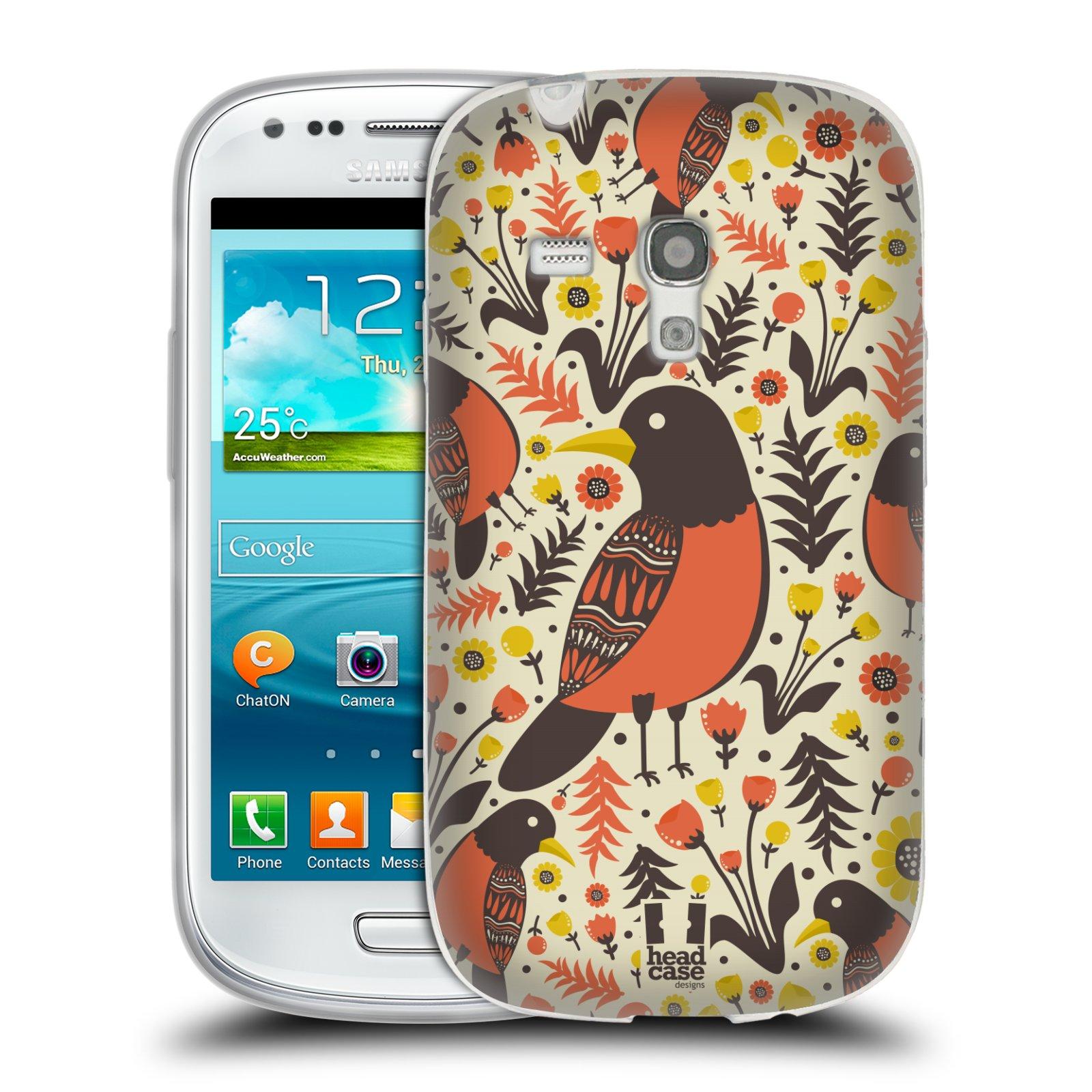 HEAD CASE silikonový obal na mobil Samsung Galaxy S3 MINI i8190 vzor kreslení ptáci červenka
