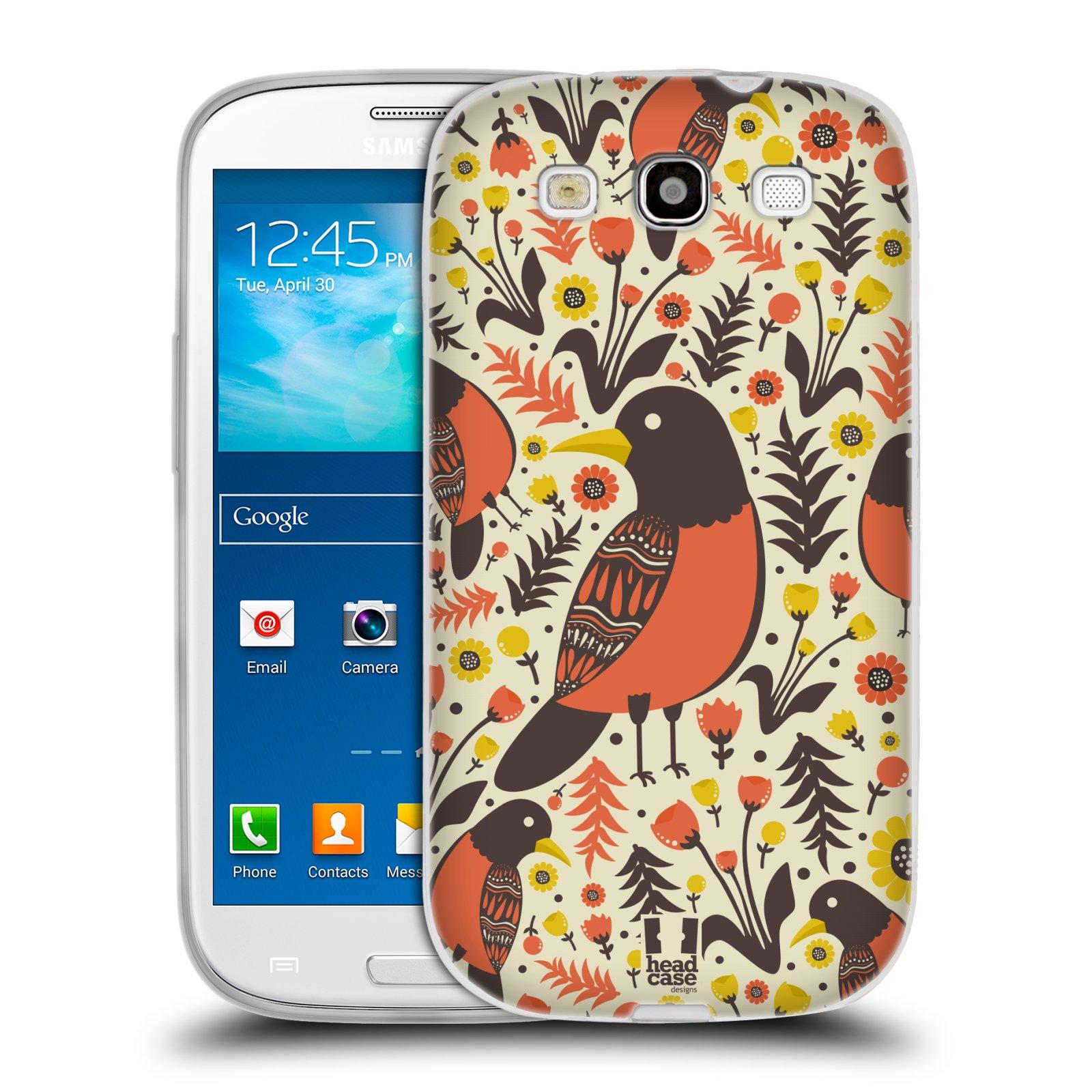 HEAD CASE silikonový obal na mobil Samsung Galaxy S3 i9300 vzor kreslení ptáci červenka
