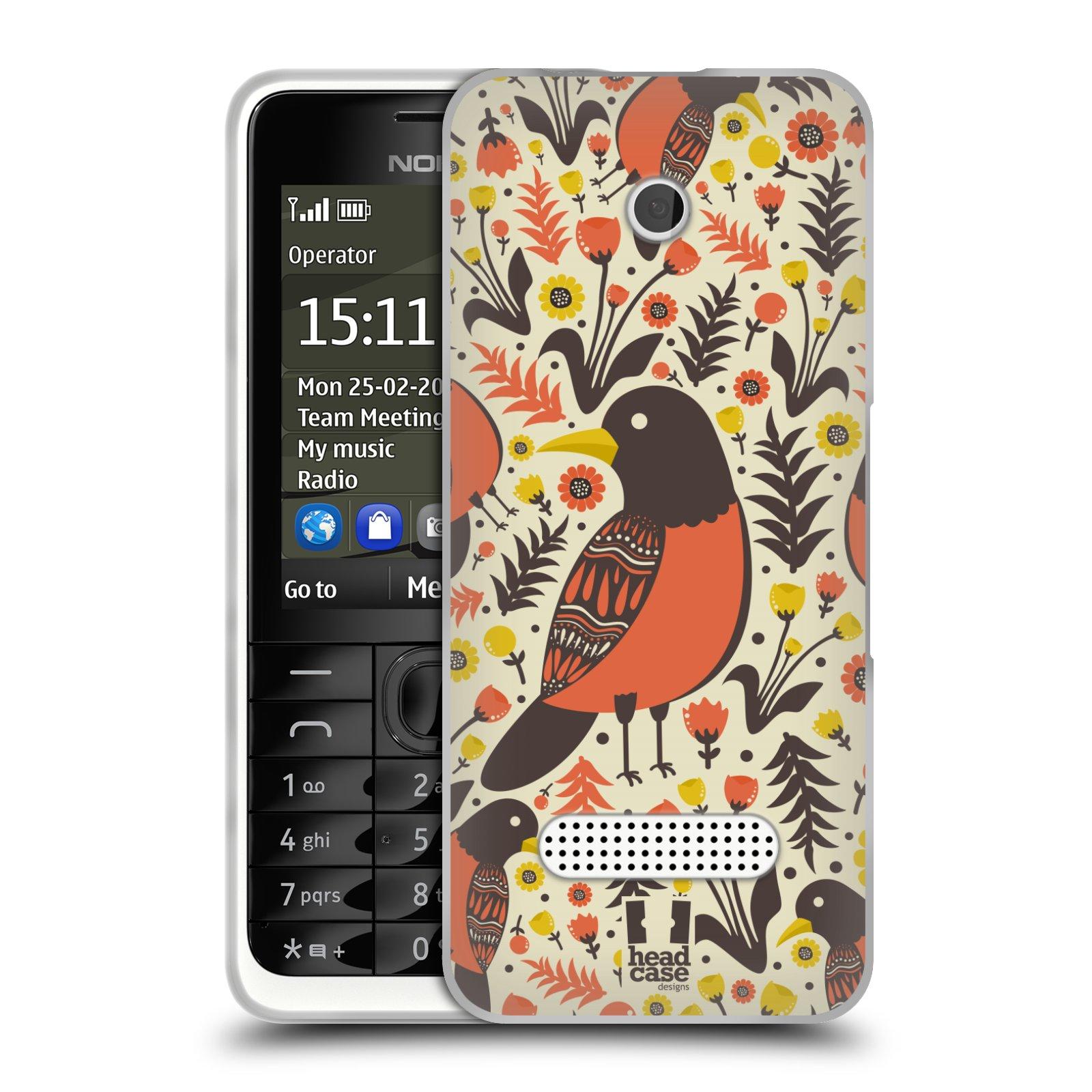 HEAD CASE silikonový obal na mobil NOKIA 301 vzor kreslení ptáci červenka