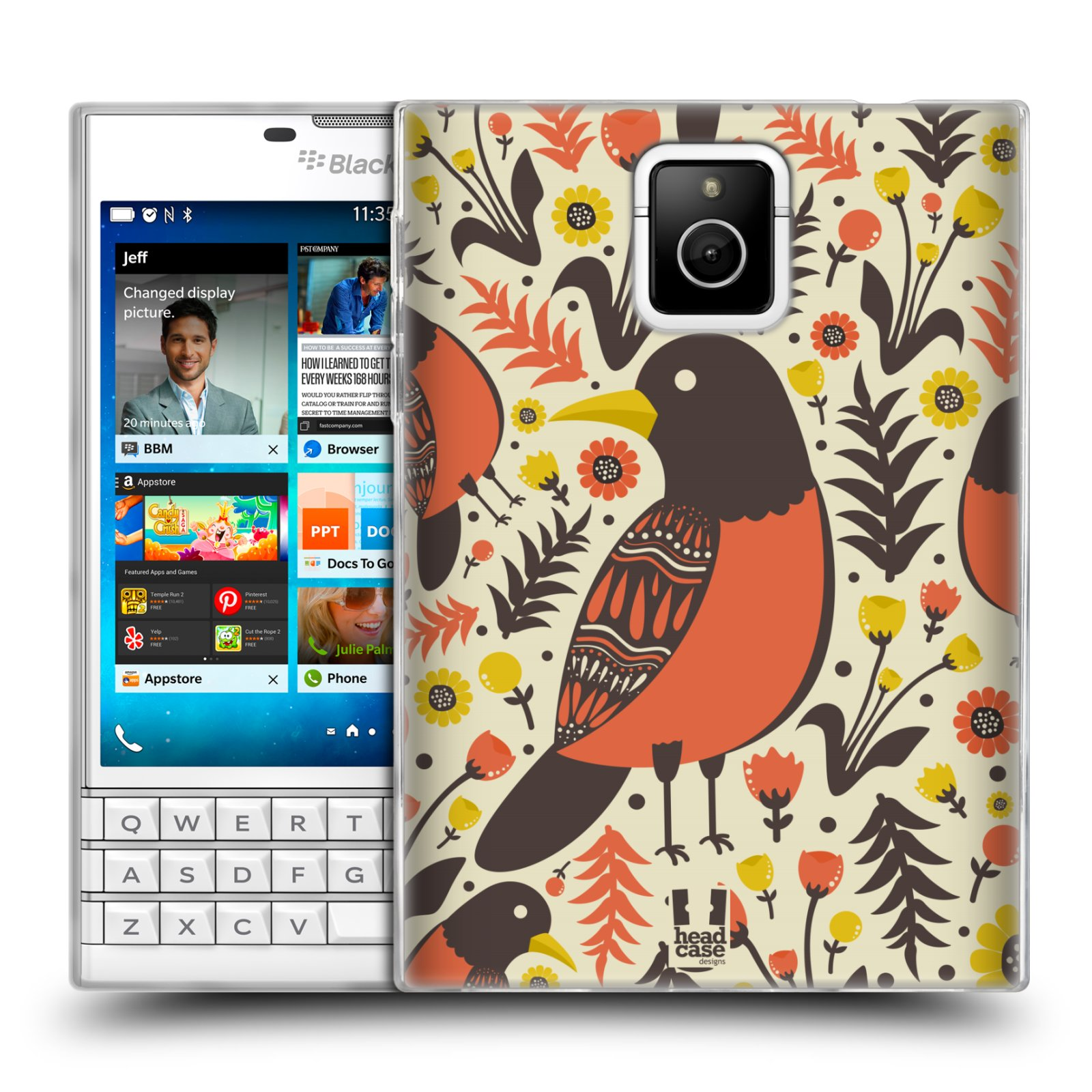 HEAD CASE silikonový obal na mobil Blackberry PASSPORT vzor kreslení ptáci červenka