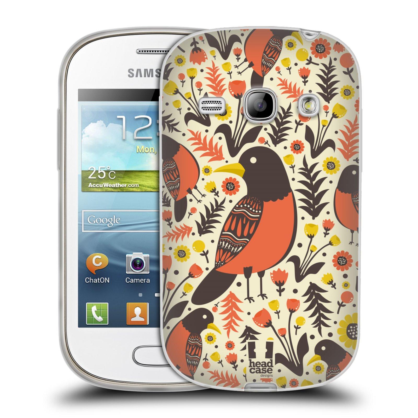 HEAD CASE silikonový obal na mobil Samsung Galaxy FAME vzor kreslení ptáci červenka