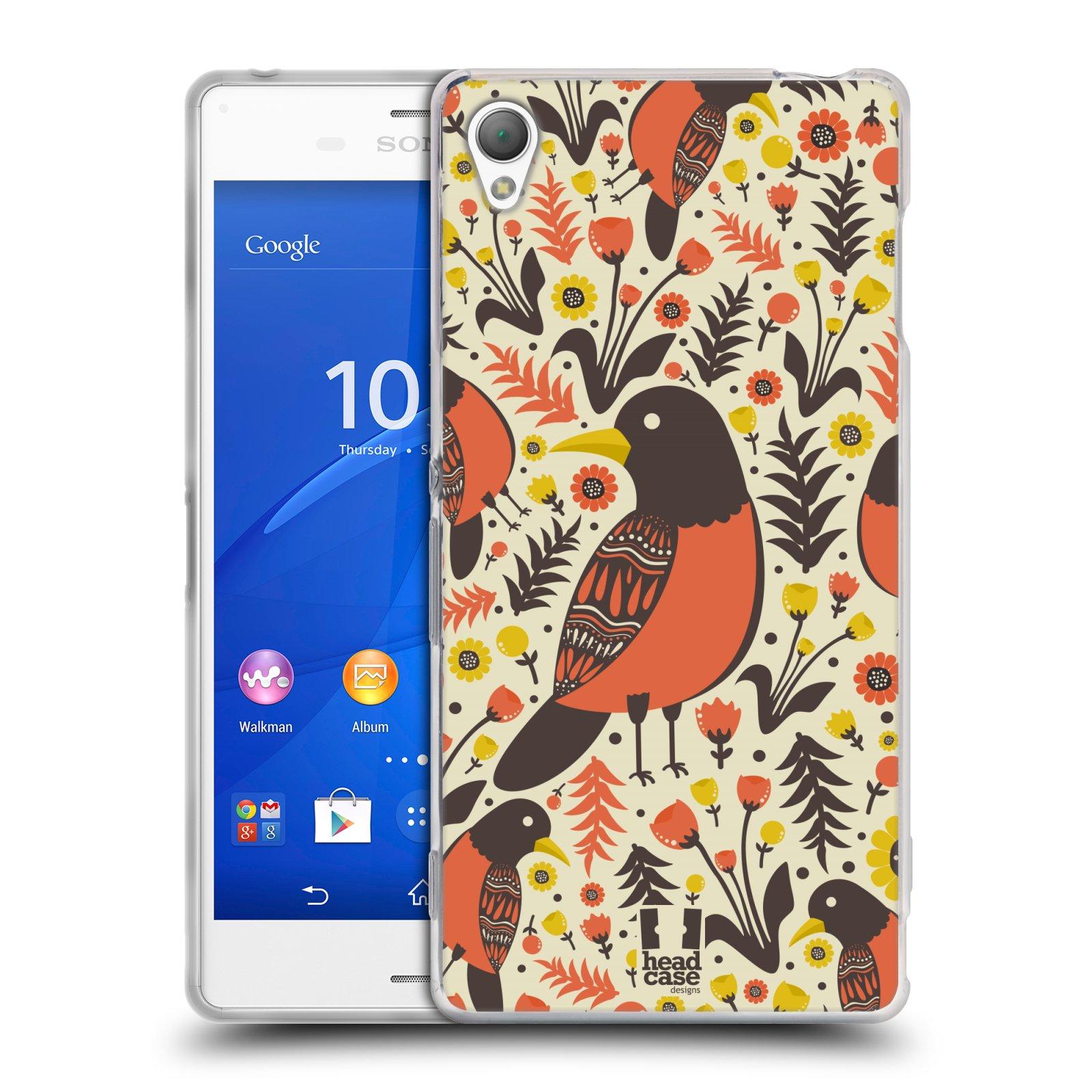 HEAD CASE silikonový obal na mobil Sony Xperia Z3 vzor kreslení ptáci červenka