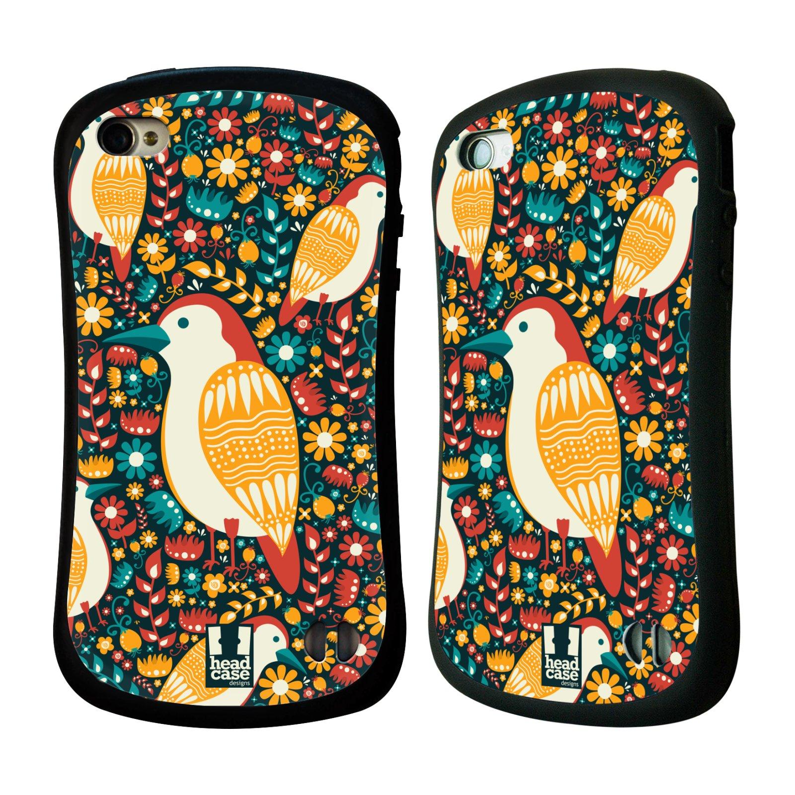 HEAD CASE silikon/plast odolný obal na mobil Apple Iphone 4/4S vzor kreslení ptáci datel