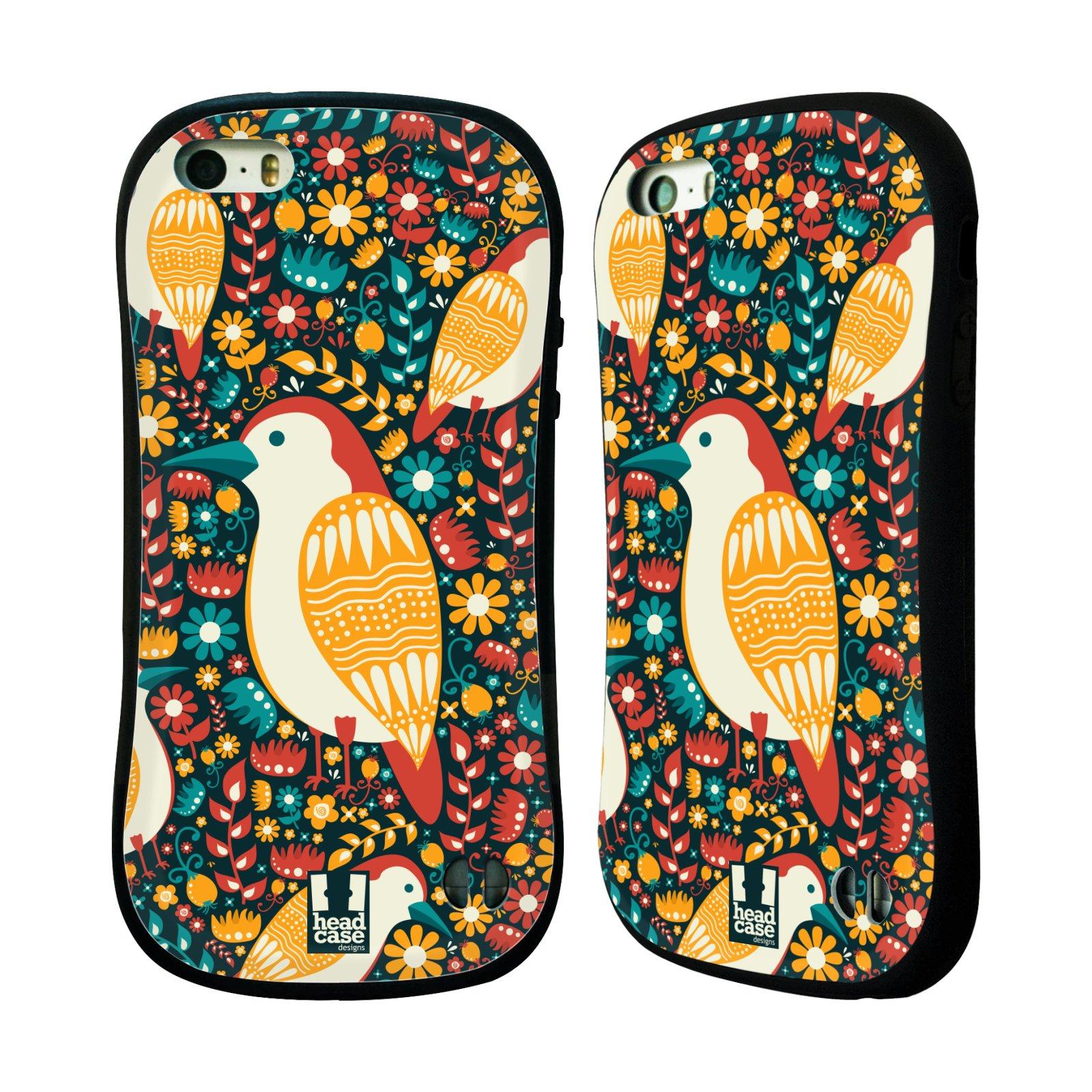 HEAD CASE silikon/plast odolný obal na mobil Apple Iphone 5/5S vzor kreslení ptáci datel