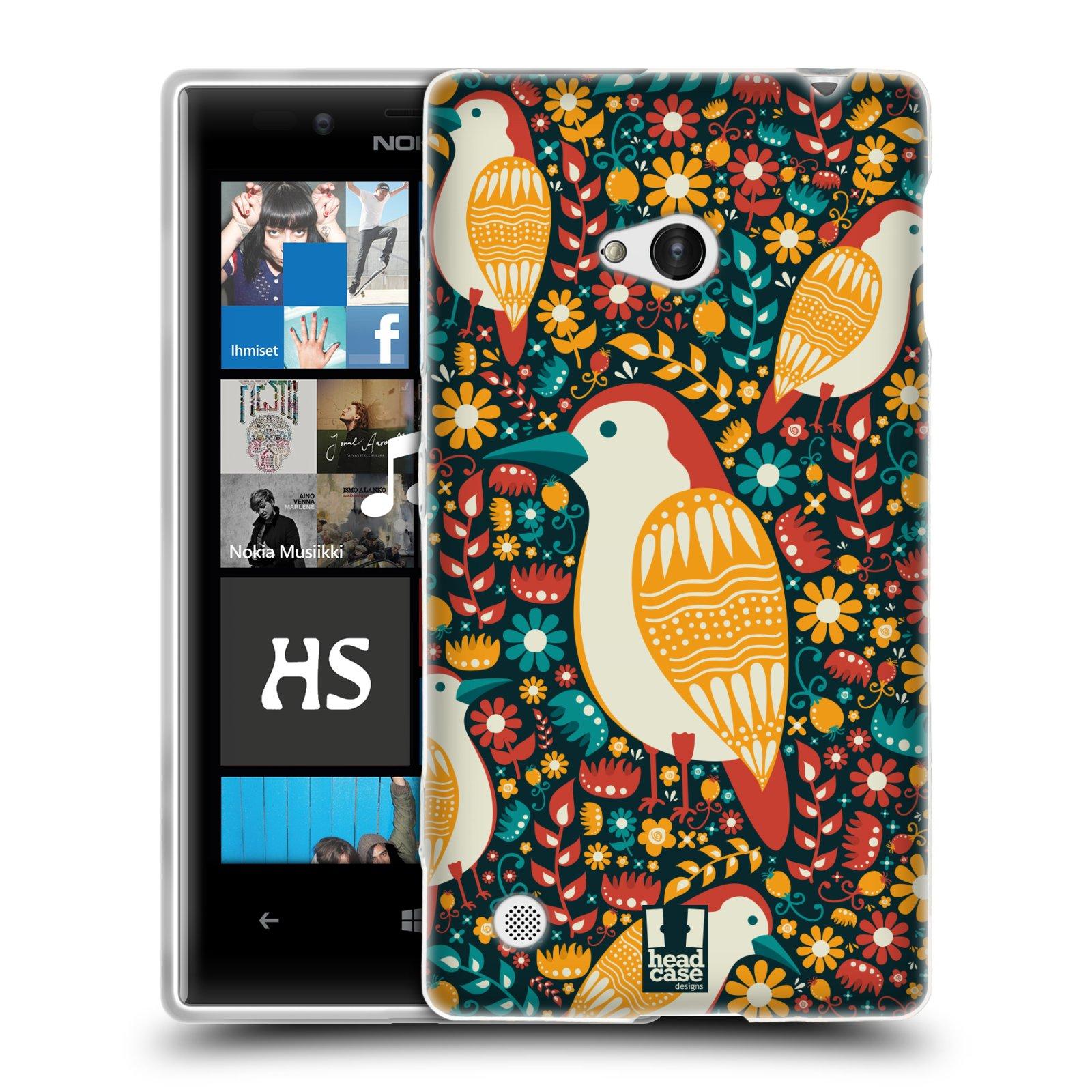 HEAD CASE silikonový obal na mobil NOKIA Lumia 720 vzor kreslení ptáci datel