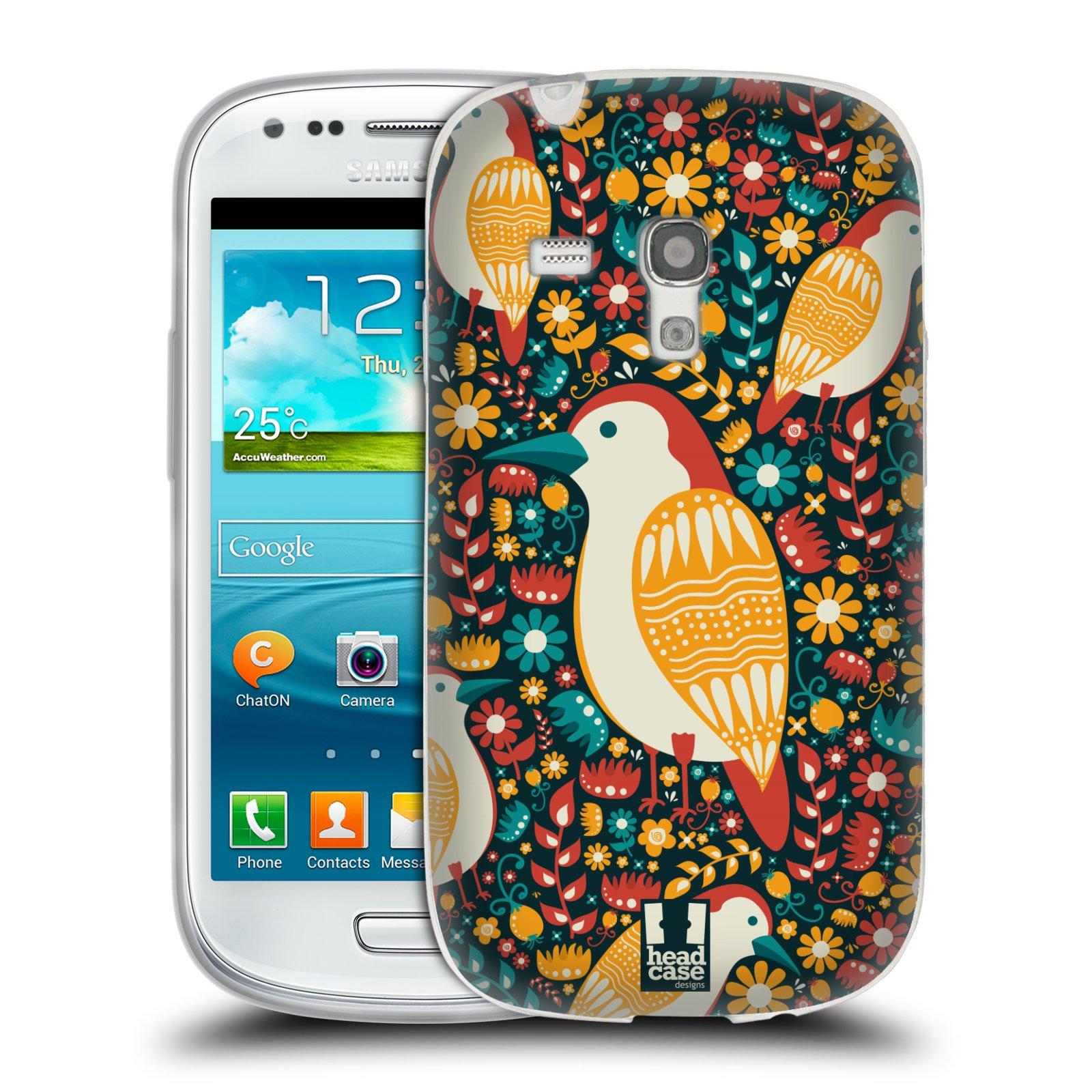 HEAD CASE silikonový obal na mobil Samsung Galaxy S3 MINI i8190 vzor kreslení ptáci datel