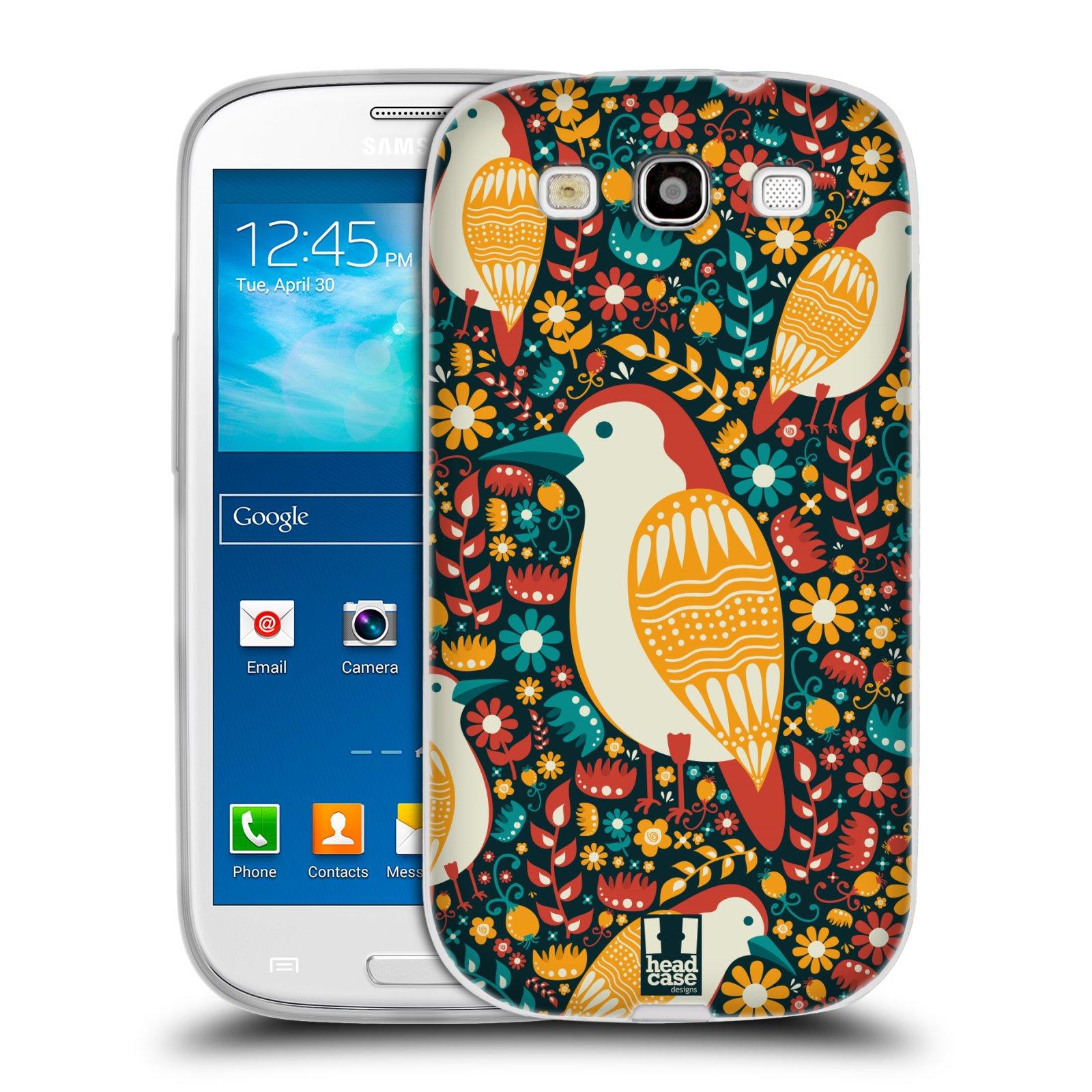 HEAD CASE silikonový obal na mobil Samsung Galaxy S3 i9300 vzor kreslení ptáci datel