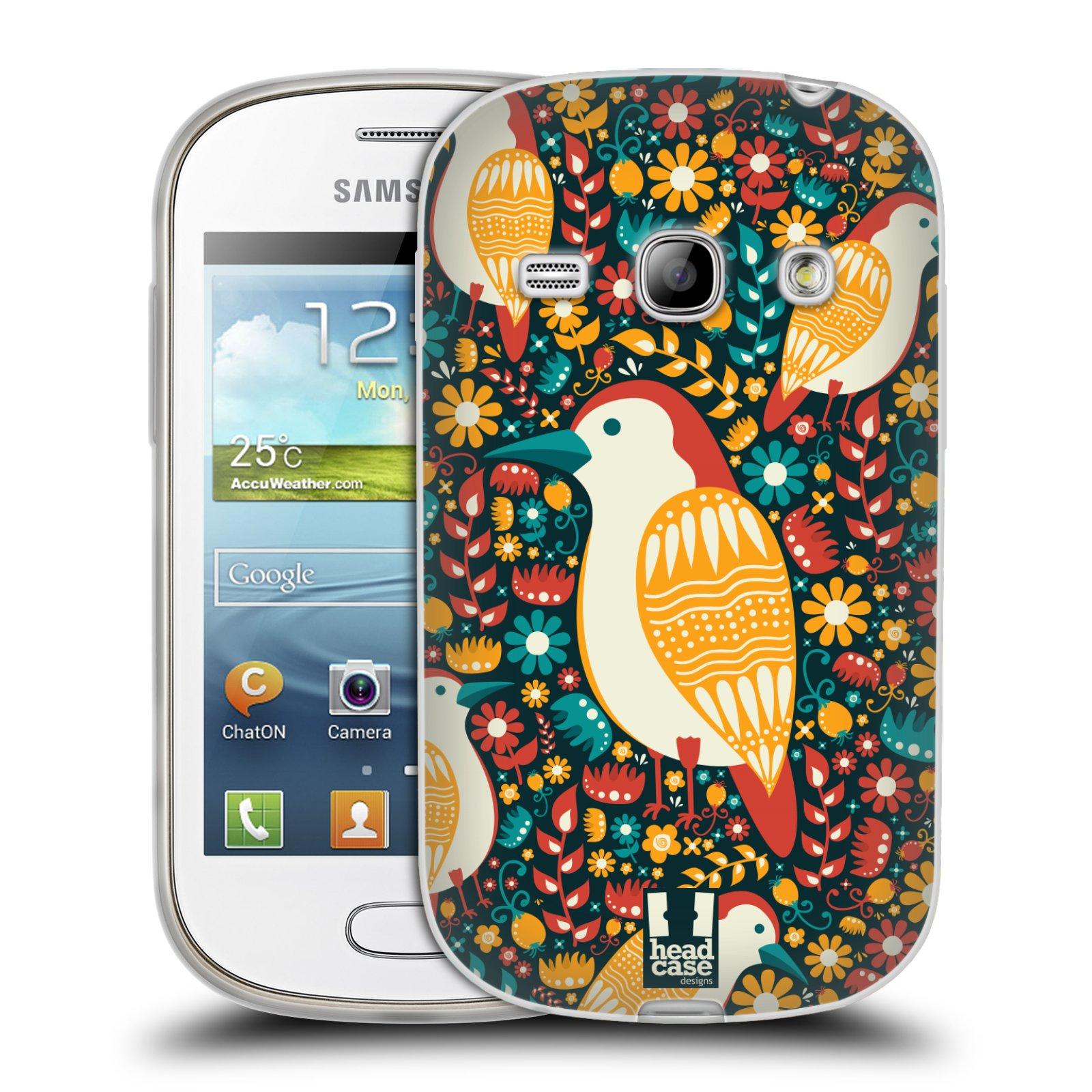 HEAD CASE silikonový obal na mobil Samsung Galaxy FAME vzor kreslení ptáci datel