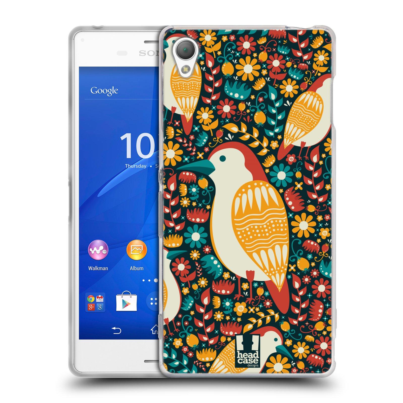 HEAD CASE silikonový obal na mobil Sony Xperia Z3 vzor kreslení ptáci datel
