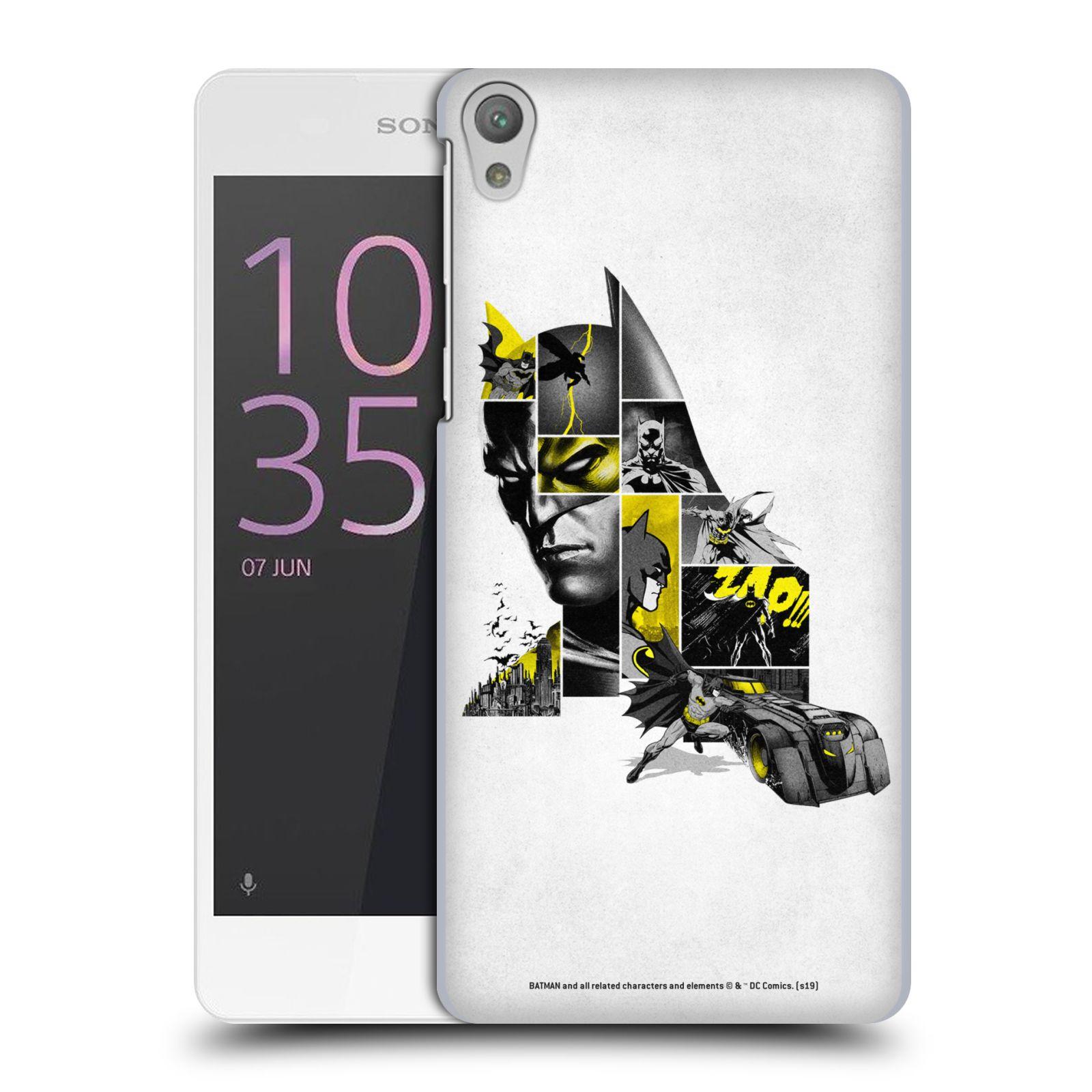 Pouzdro na mobil Sony Xperia E5 - HEAD CASE - DC komix Batman koláž