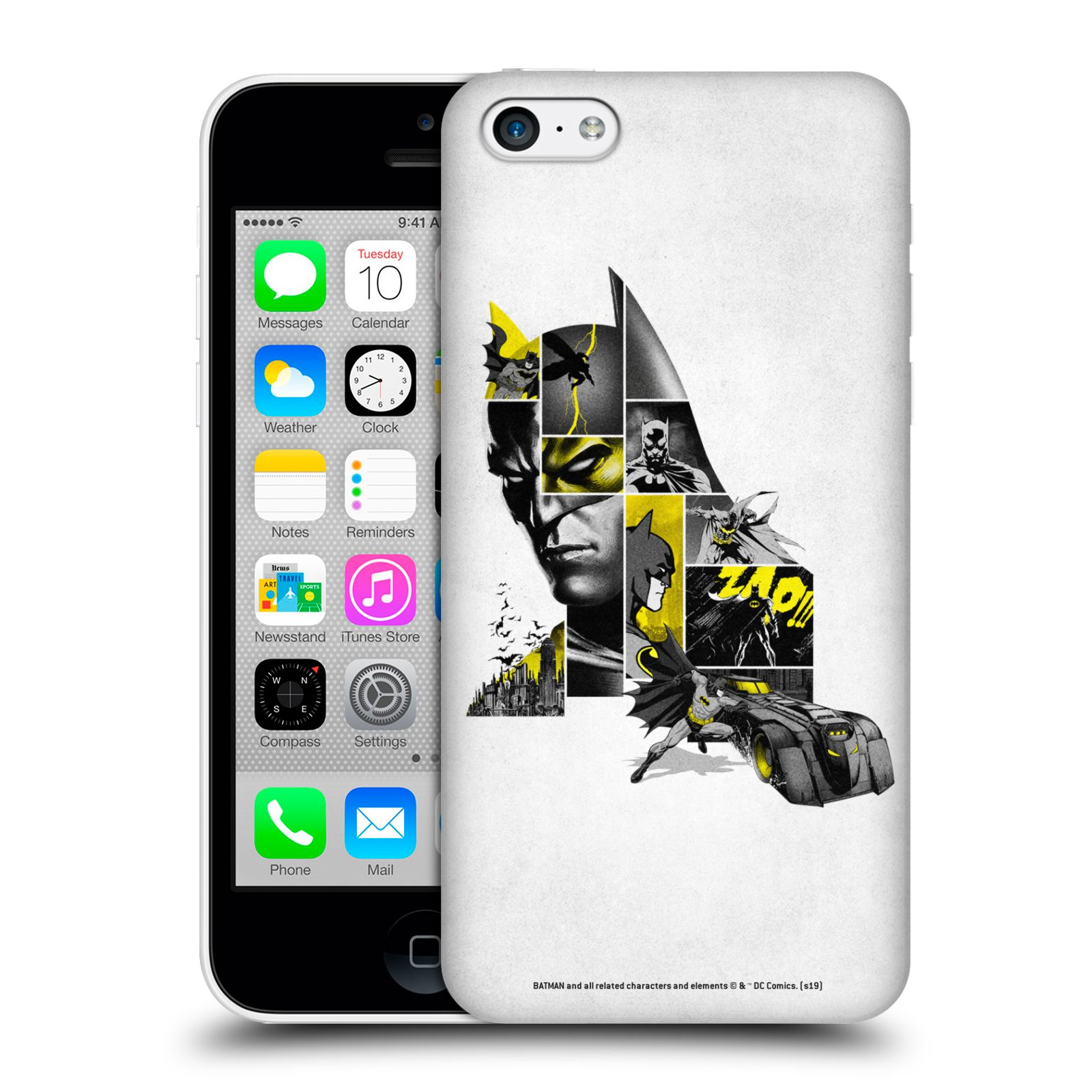 Pouzdro na mobil Apple Iphone 5C - HEAD CASE - DC komix Batman koláž