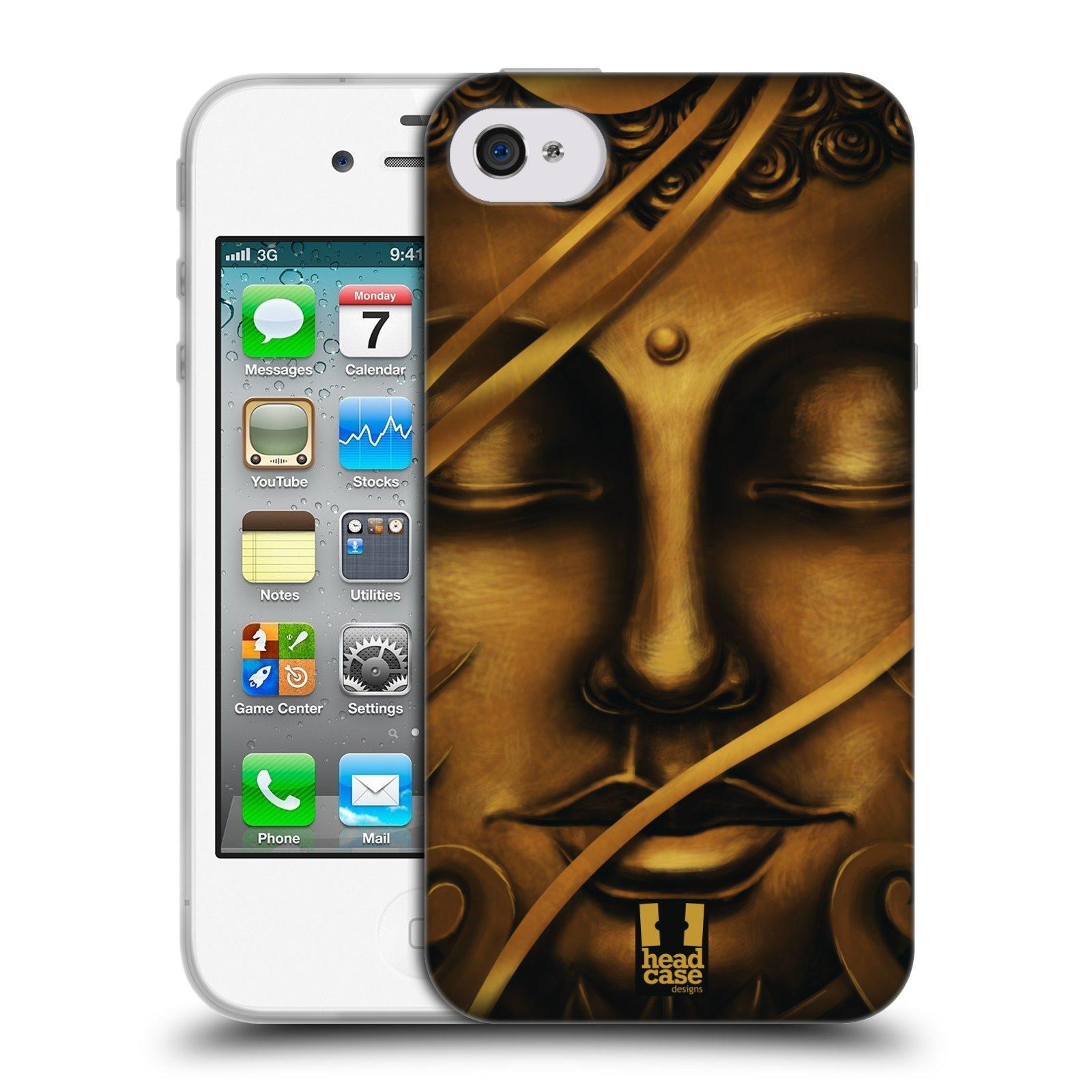 HEAD CASE silikonový obal na mobil Apple Iphone 4/4S vzor BUDDHA ZLATÝ BUDHA