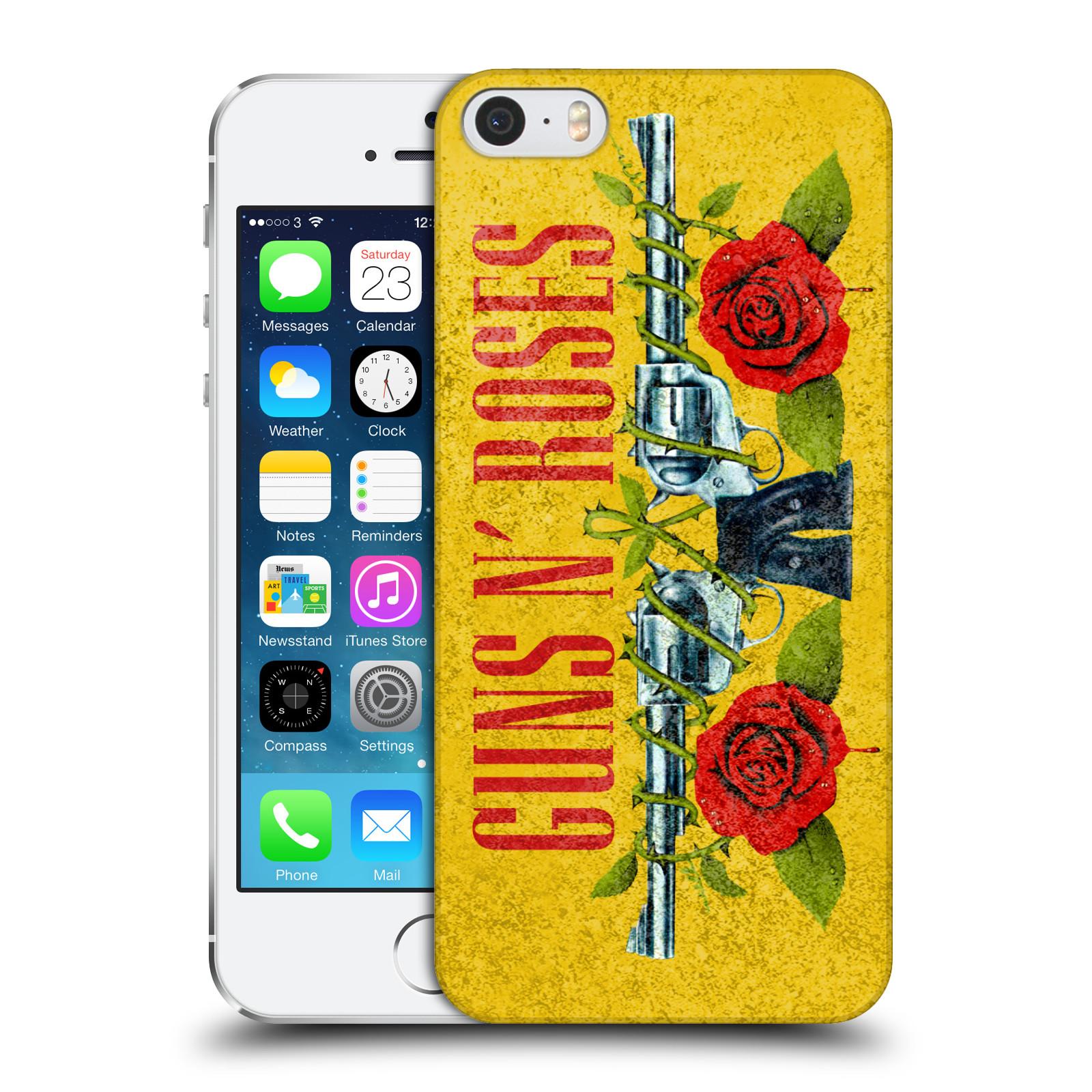 275cf4979 Plastové pouzdro pro mobil Apple Iphone 5 / 5S / SE hudební skupina Guns N  Roses pistole a růže žluté pozadí