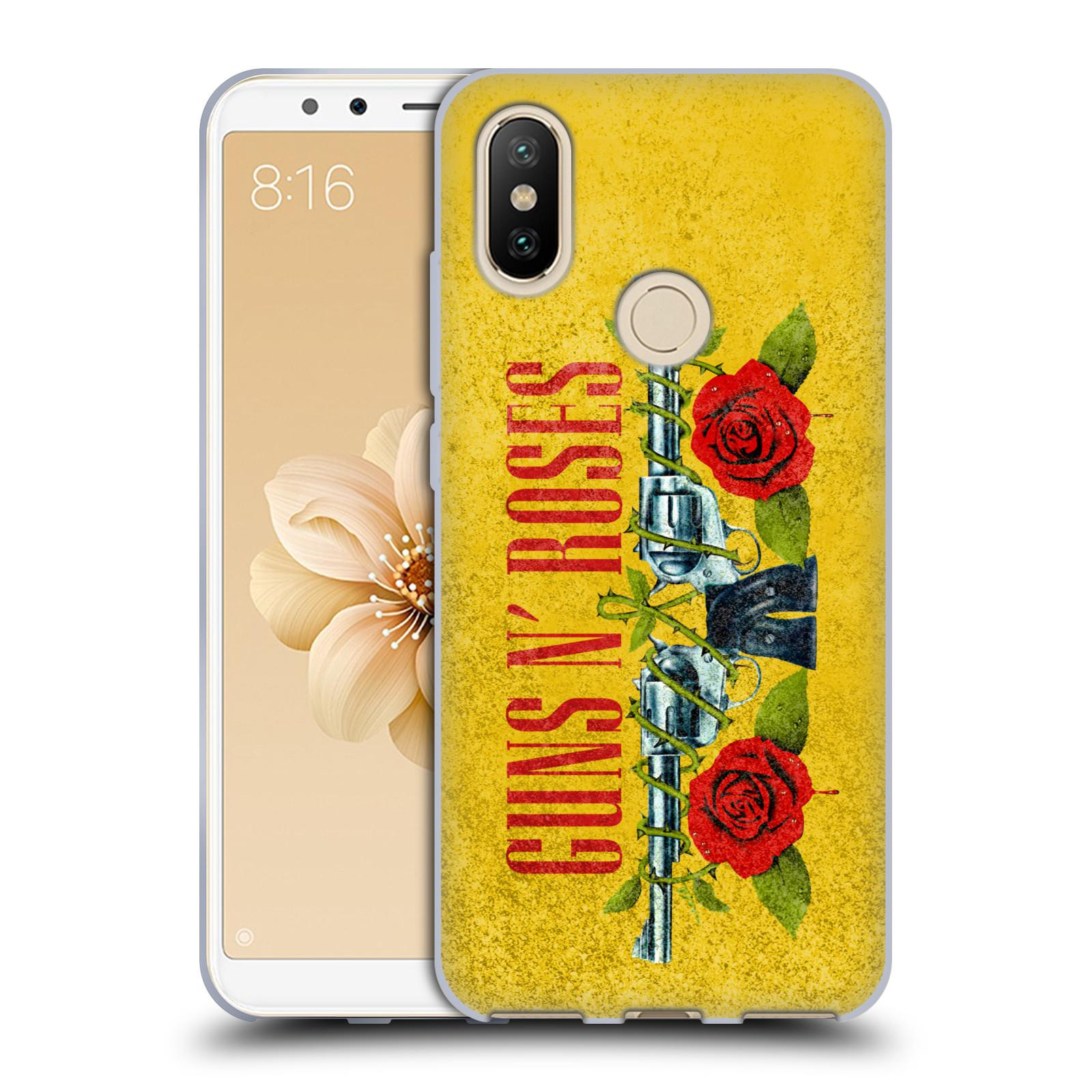 7fc439daf Silikonové pouzdro na mobil Xiaomi Mi A2 hudební skupina Guns N Roses  pistole a růže žluté pozadí
