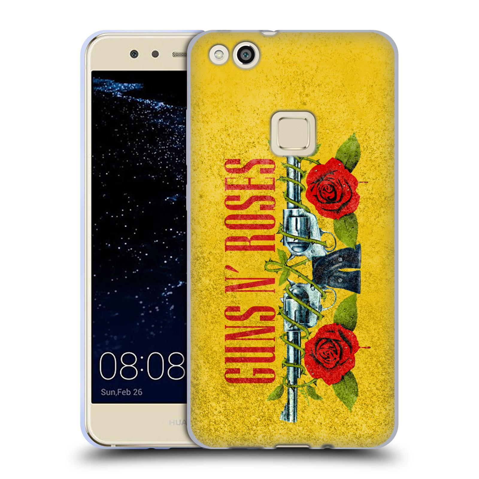 d9f95d133 HEAD CASE silikonový obal na mobil Huawei P10 LITE / Huawei P10 LITE DUAL  SIM hudební skupina Guns N Roses pistole a růže žluté pozadí