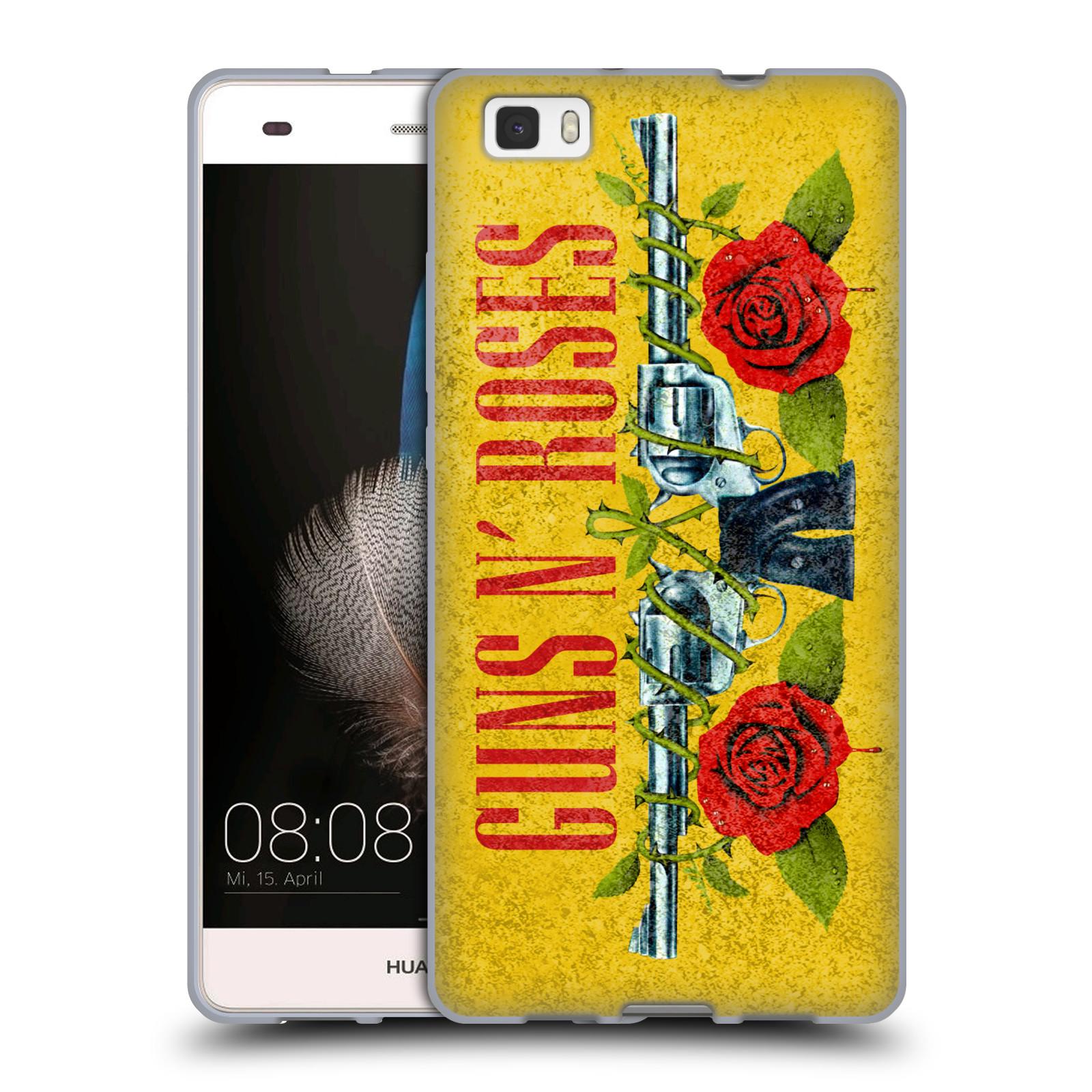 3dad6f1e7 HEAD CASE silikonový obal na mobil Huawei P8 LITE / P8 LITE DUAL SIM  hudební skupina Guns N Roses pistole a růže žluté pozadí
