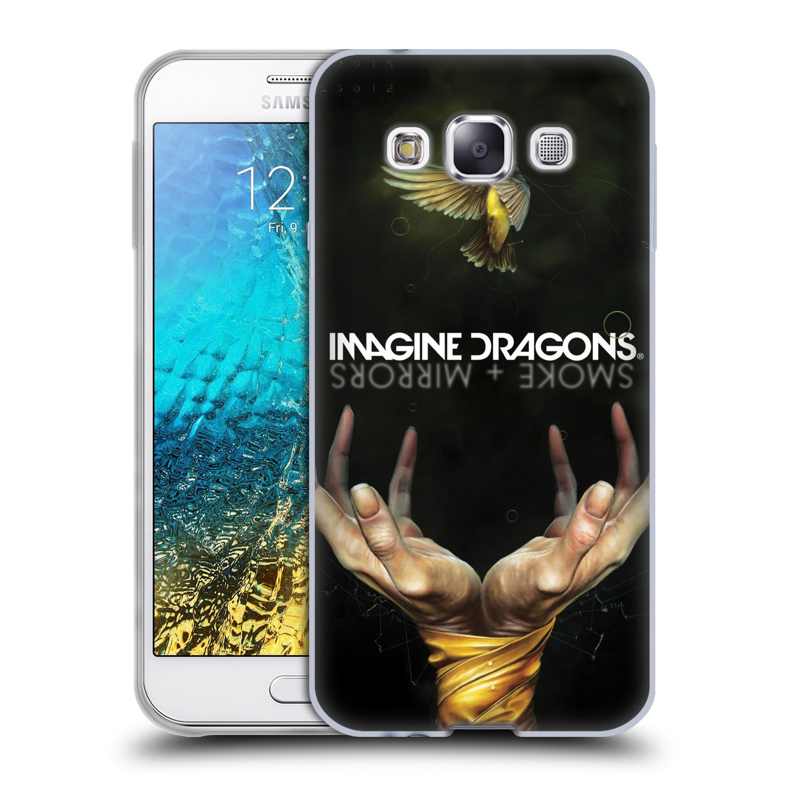 HEAD CASE silikonový obal na mobil Samsung Galaxy E5 hudební skupina Imagine Dragons SMOKE and MIRRORS
