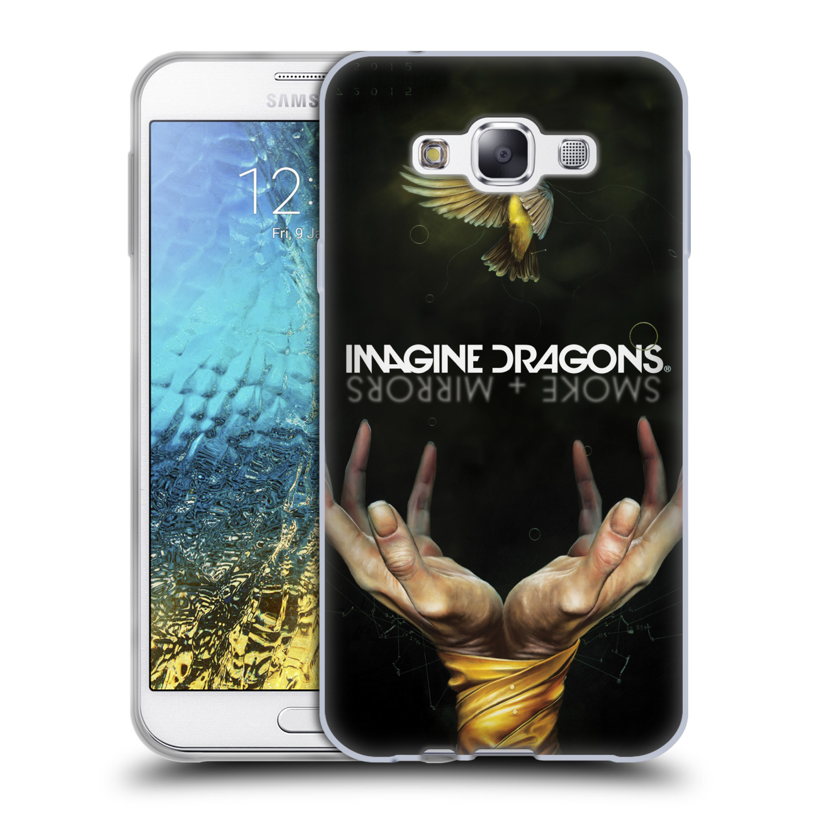 HEAD CASE silikonový obal na mobil Samsung Galaxy E7 hudební skupina Imagine Dragons SMOKE and MIRRORS