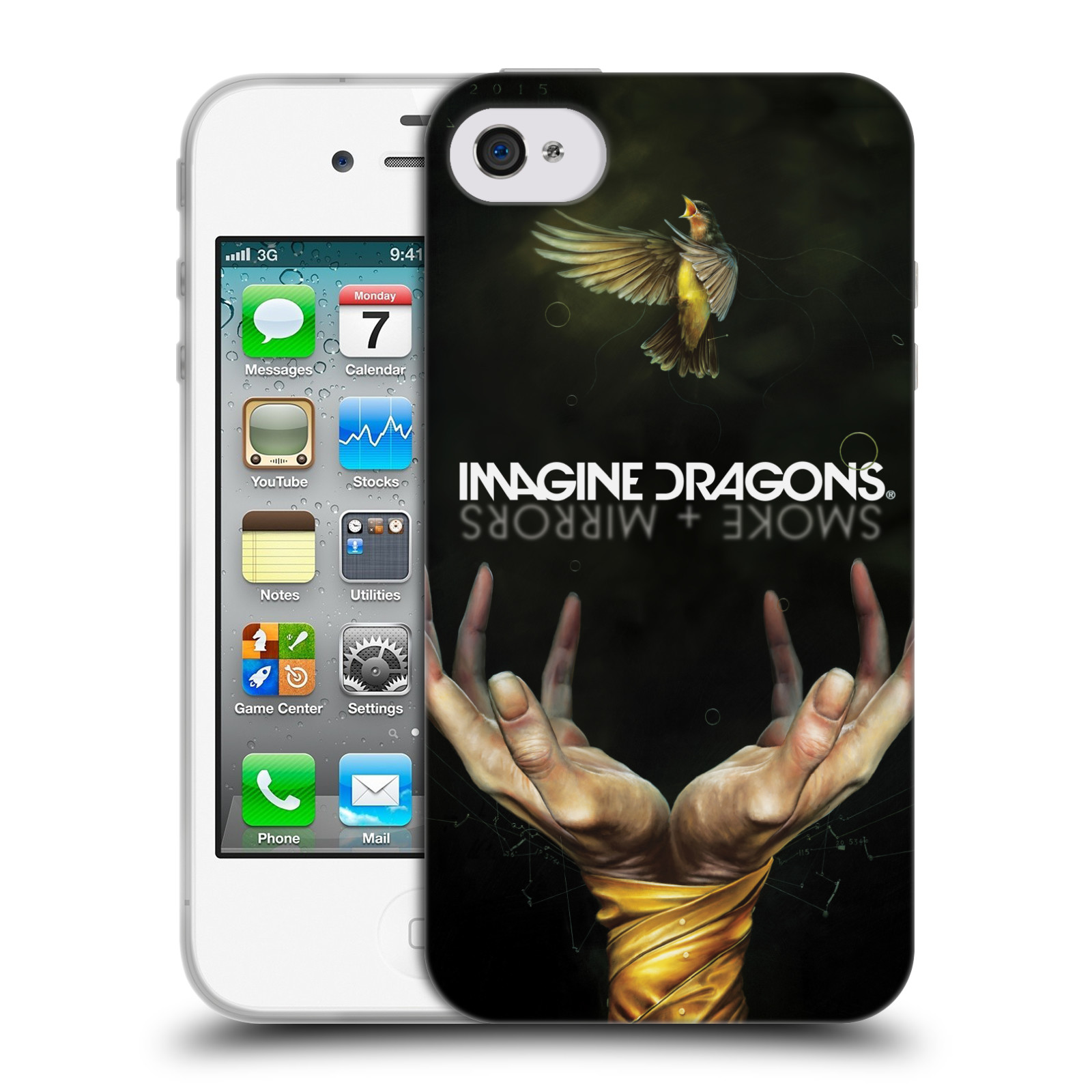 HEAD CASE silikonový obal na mobil Apple Iphone 4/4S hudební skupina Imagine Dragons SMOKE and MIRRORS