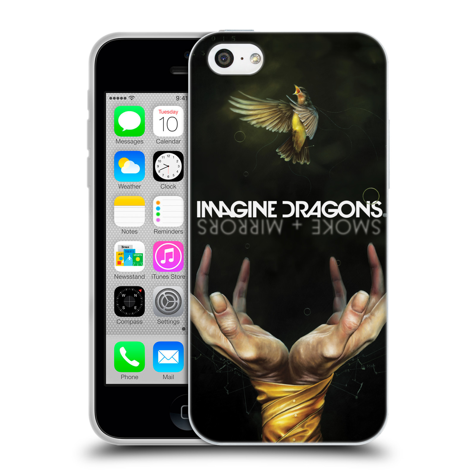 HEAD CASE silikonový obal na mobil Apple Iphone 5C hudební skupina Imagine Dragons SMOKE and MIRRORS