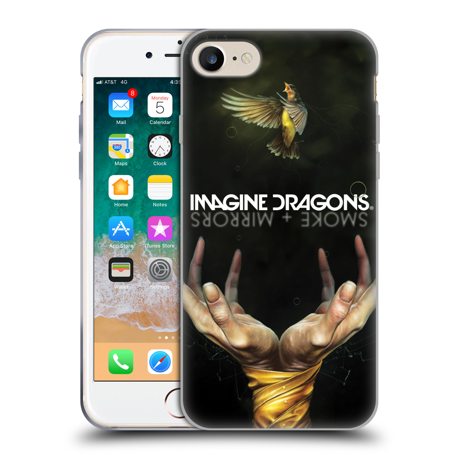 HEAD CASE silikonový obal na mobil Apple Iphone 7 hudební skupina Imagine Dragons SMOKE and MIRRORS