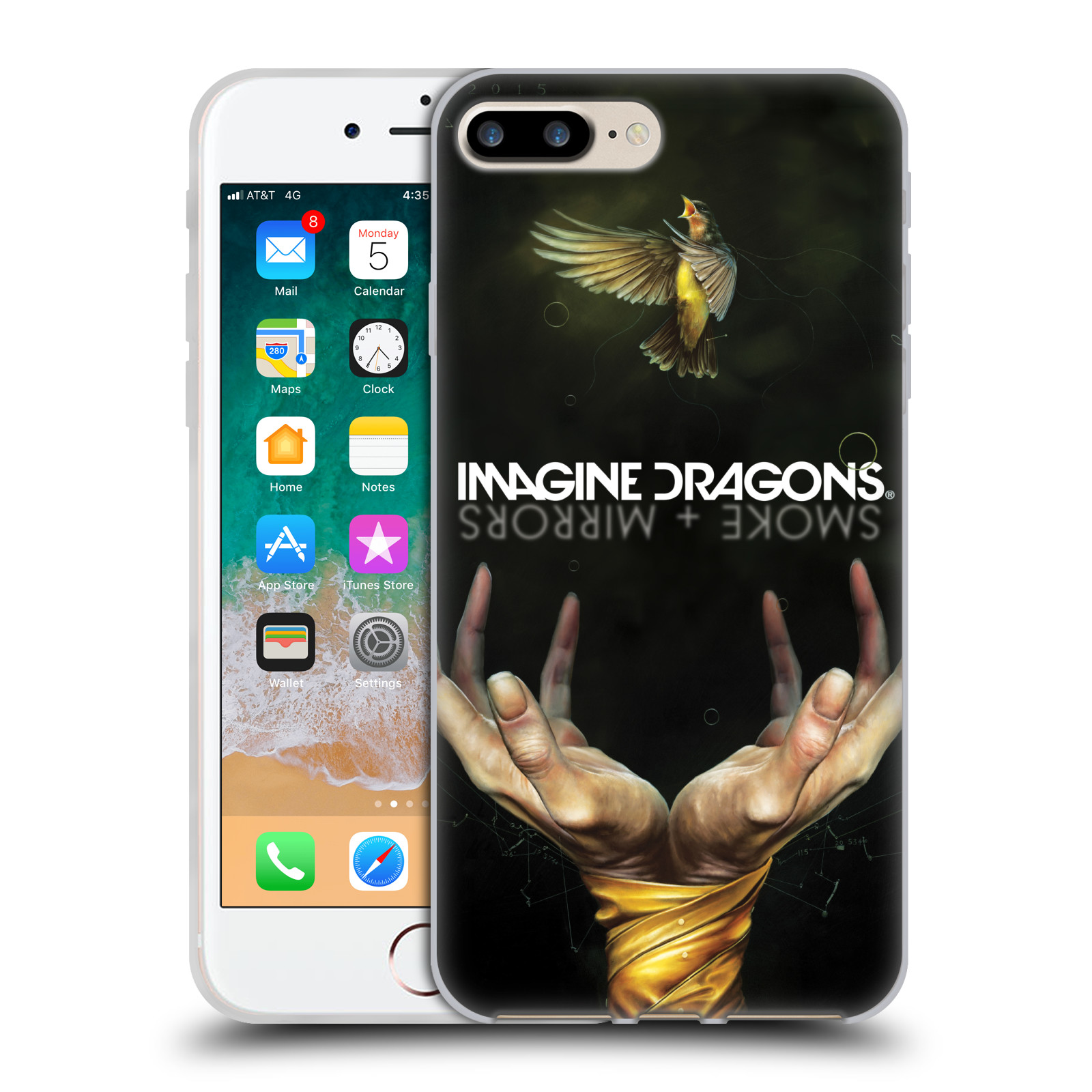 HEAD CASE silikonový obal na mobil Apple Iphone 7 PLUS hudební skupina Imagine Dragons SMOKE and MIRRORS
