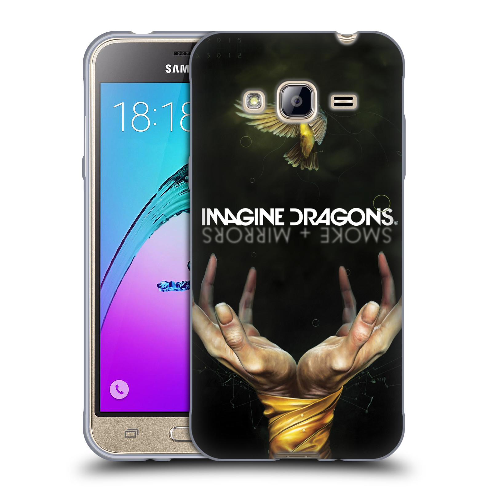 HEAD CASE silikonový obal na mobil Samsung Galaxy J3, J3 2016 hudební skupina Imagine Dragons SMOKE and MIRRORS