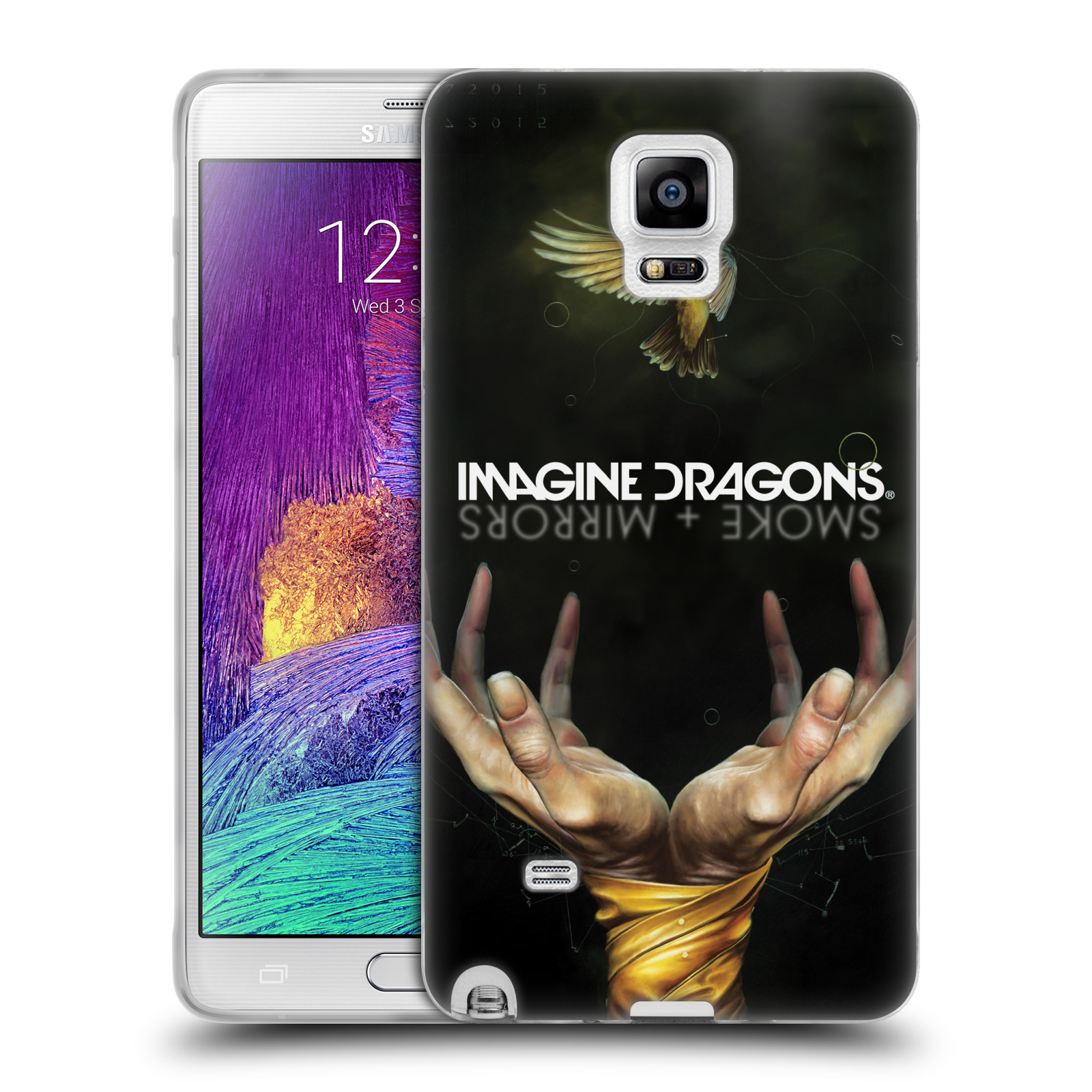 HEAD CASE silikonový obal na mobil Samsung Galaxy Note 4 hudební skupina Imagine Dragons SMOKE and MIRRORS
